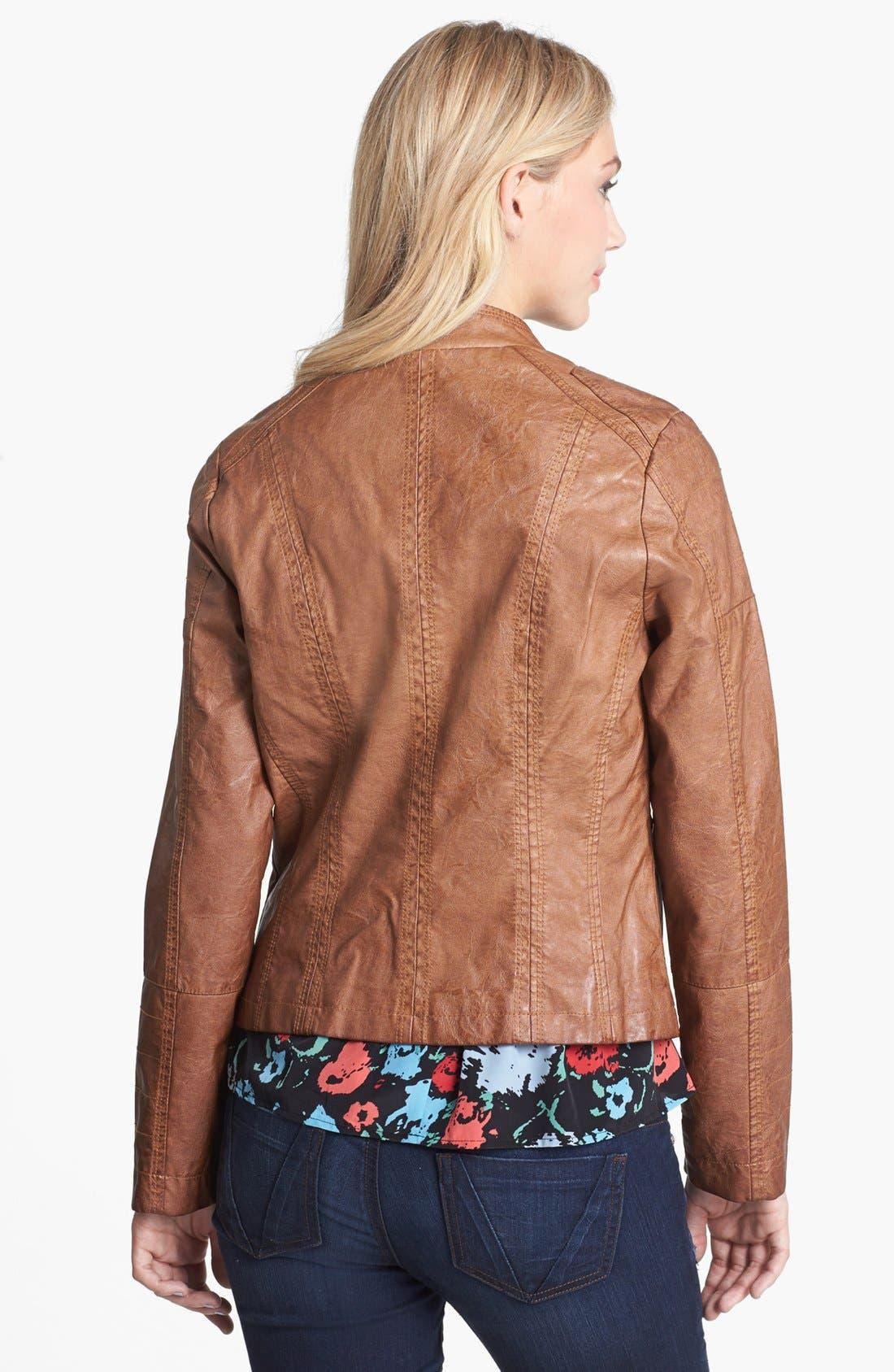 Alternate Image 2  - Jou Jou Faux Leather Bomber Jacket (Juniors)