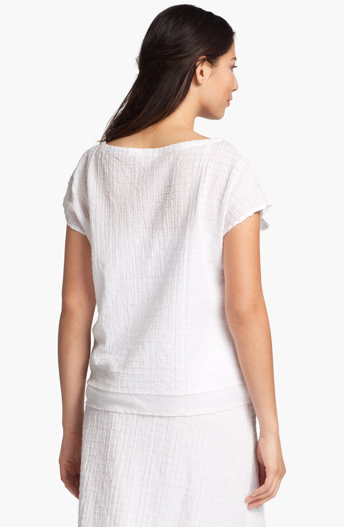 Alternate Image 2  - Eileen Fisher Ballet Neck Cap Sleeve Blouse (Petite)