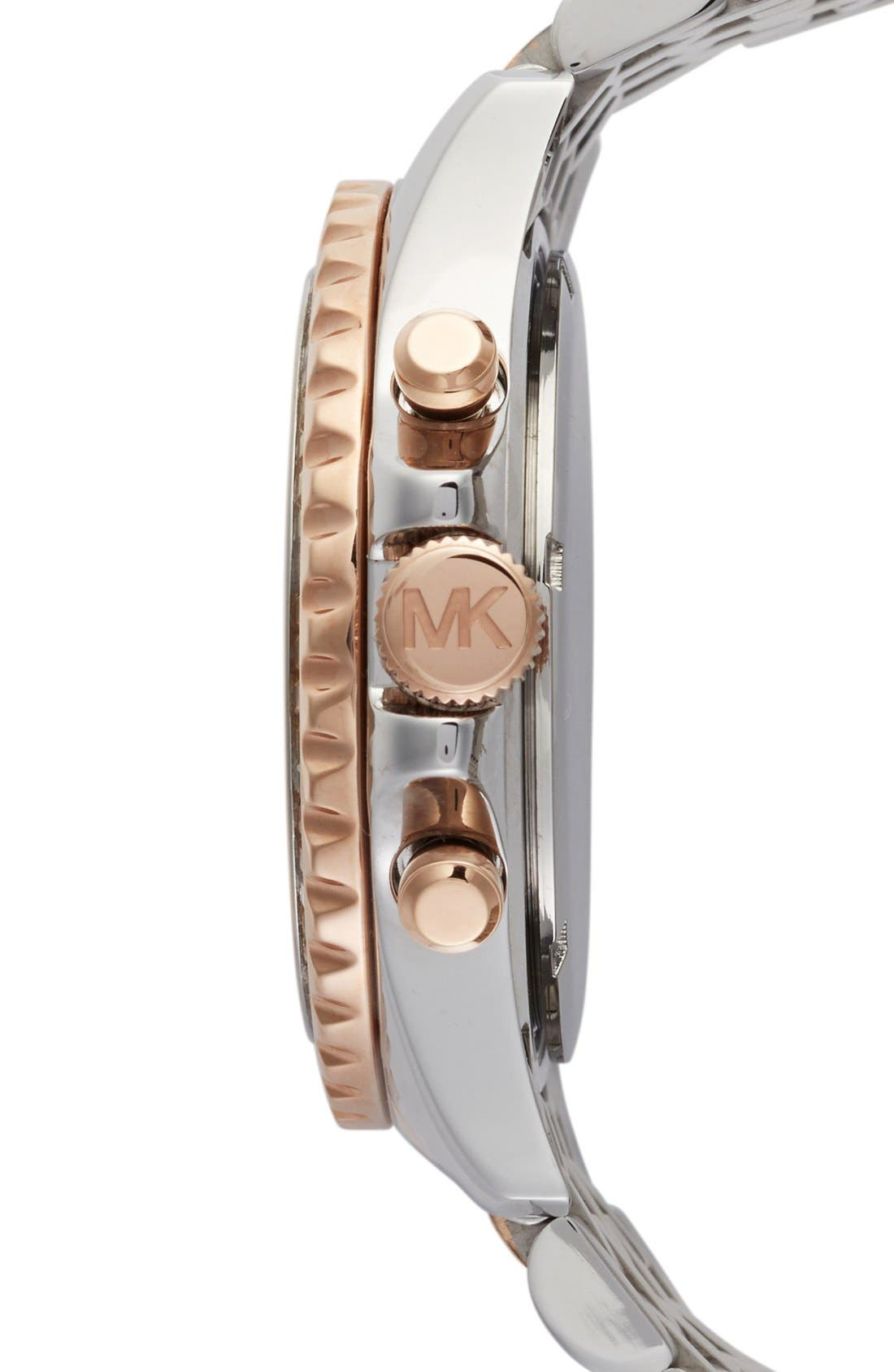 Alternate Image 3  - Michael Kors 'Everest' Crystal Bezel Tri Tone Bracelet Watch, 42mm