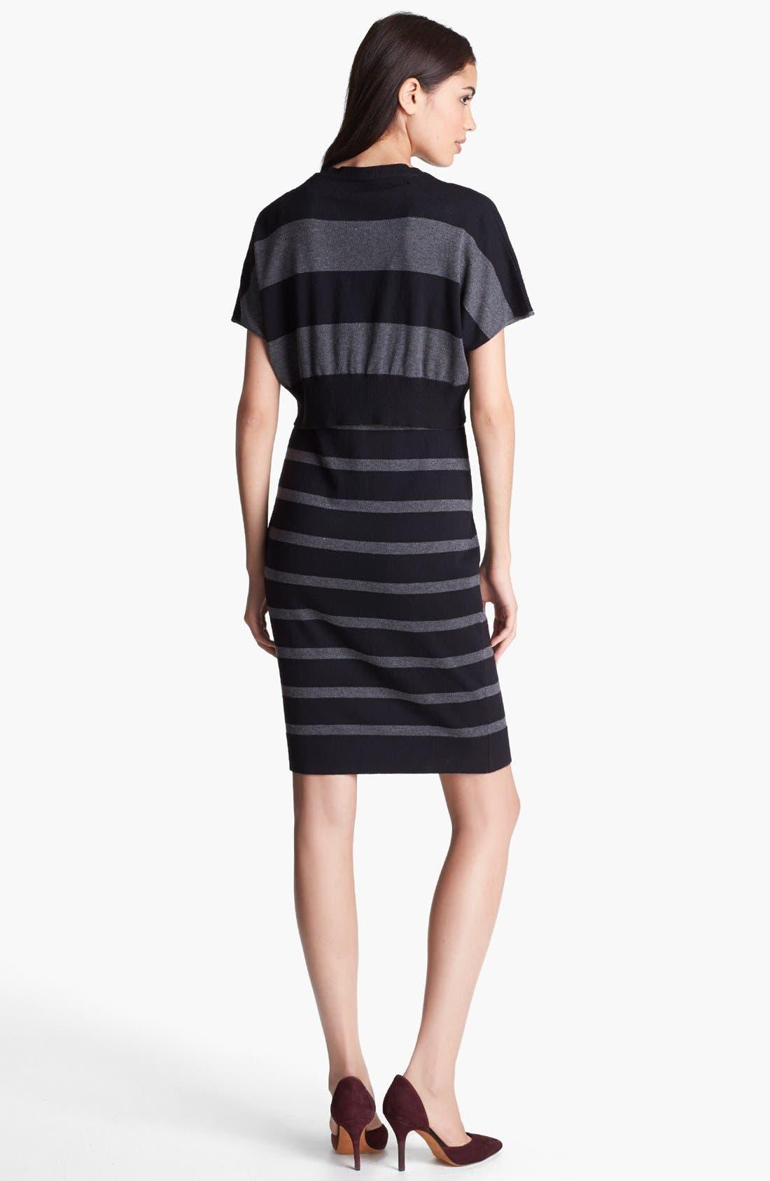 Alternate Image 2  - Laundry by Shelli Segal Crop Overlay Stripe Sweater Dress