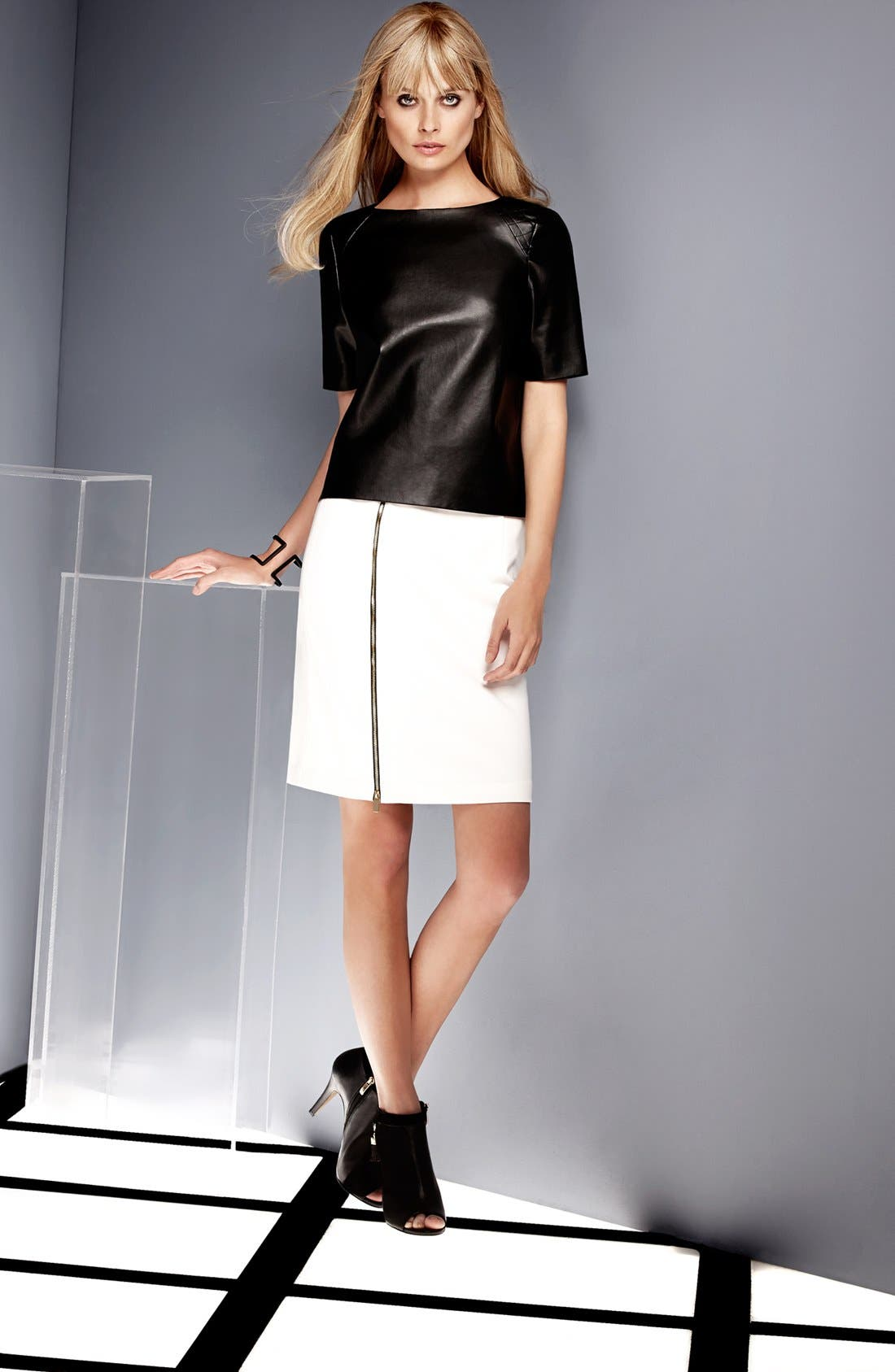 Main Image - Vince Camuto Faux Leather Top & Skirt