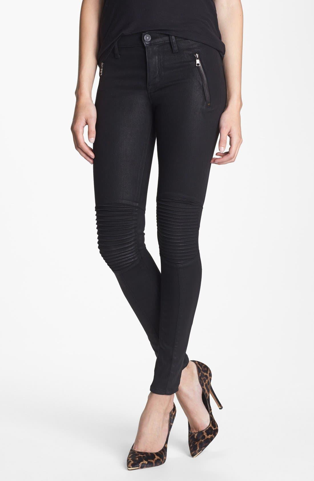 Alternate Image 1 Selected - Hudson Jeans 'Stark' Moto Skinny Jeans (Jet Black)