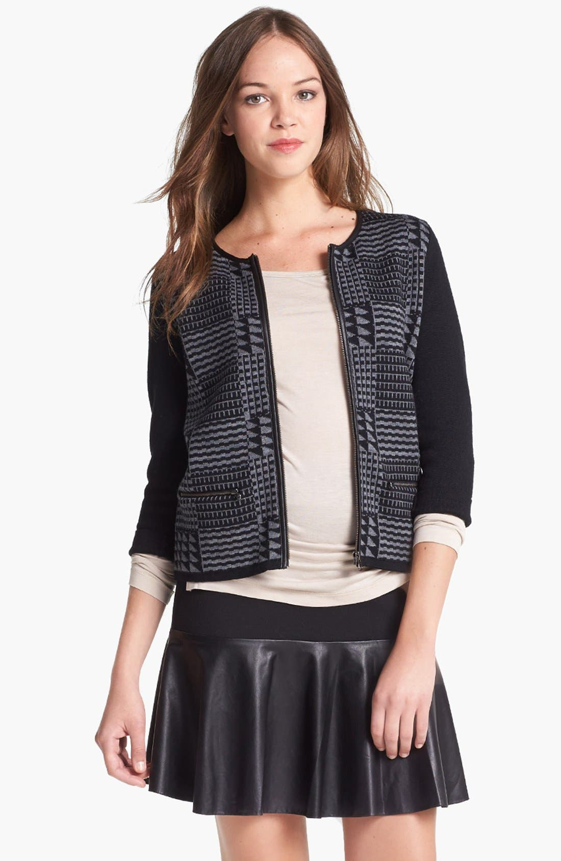 Alternate Image 2  - Halogen® Faux Leather Trim Sweater Jacket  (Regular & Petite)