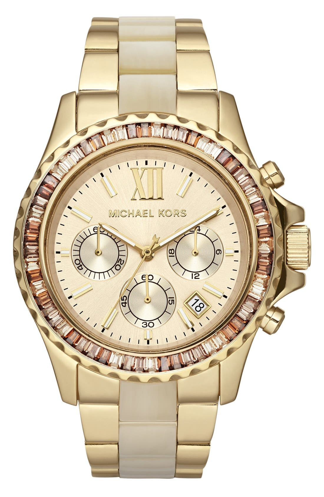 Main Image - Michael Kors 'Everest' Crystal Bezel Resin Link Bracelet Watch, 42mm