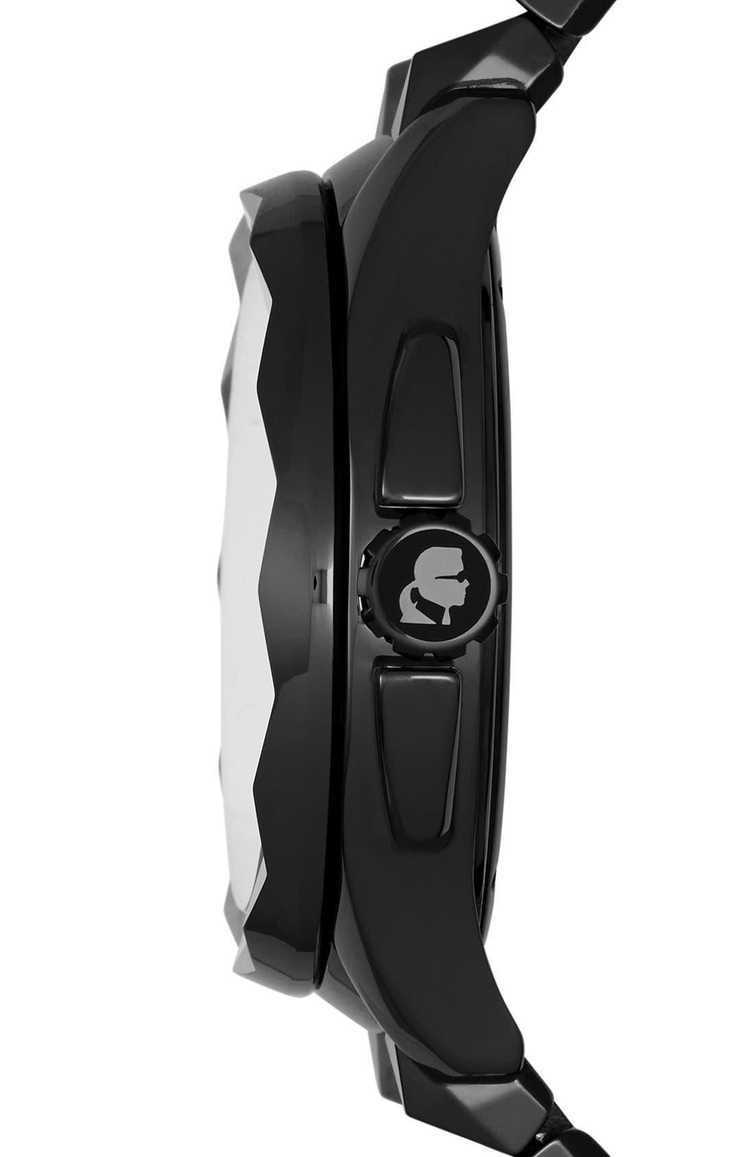 Alternate Image 3  - KARL LAGERFELD '7' Faceted Bezel Ceramic Bracelet Watch, 44mm