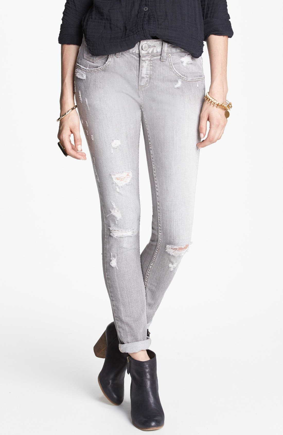Alternate Image 1 Selected - Free People Destroyed Skinny Jeans (Copenhagen)