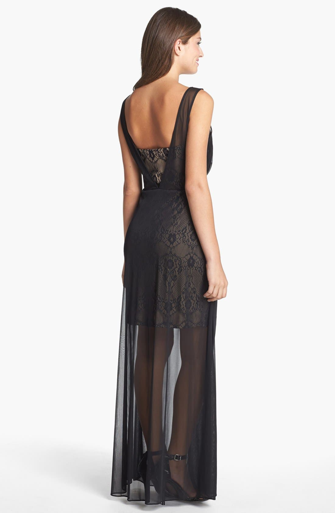 Alternate Image 2  - Hailey by Adrianna Papell Chiffon Overlay Lace Sheath Dress
