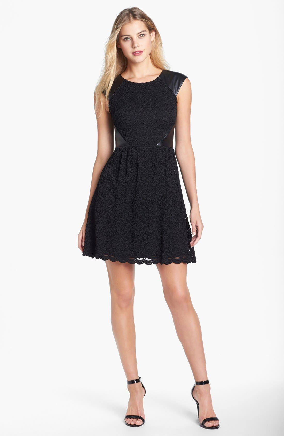 Main Image - Betsey Johnson Faux Leather Trim Lace Fit & Flare Dress