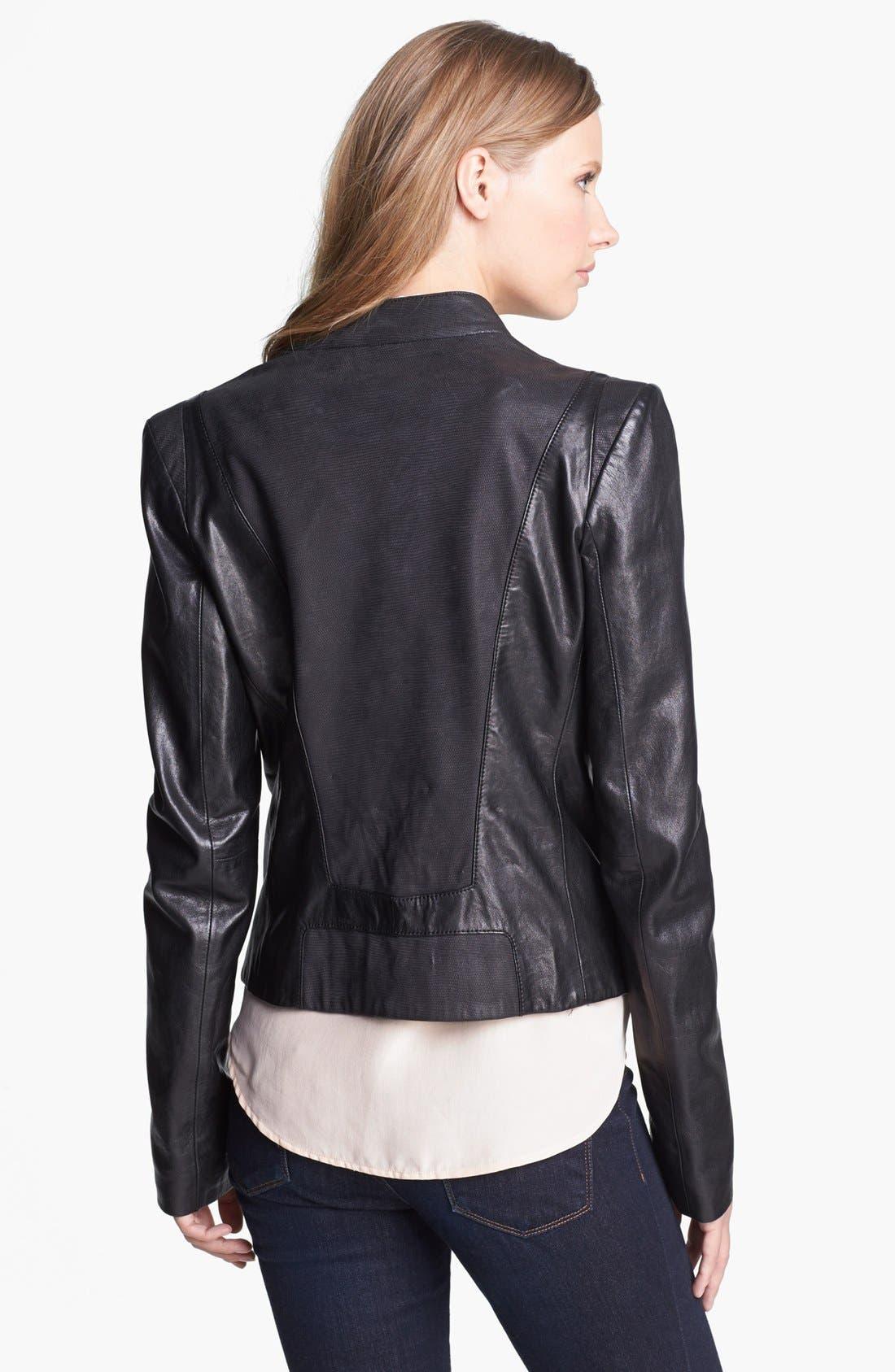 Alternate Image 2  - Andrew Marc Mixed Leather Moto Jacket