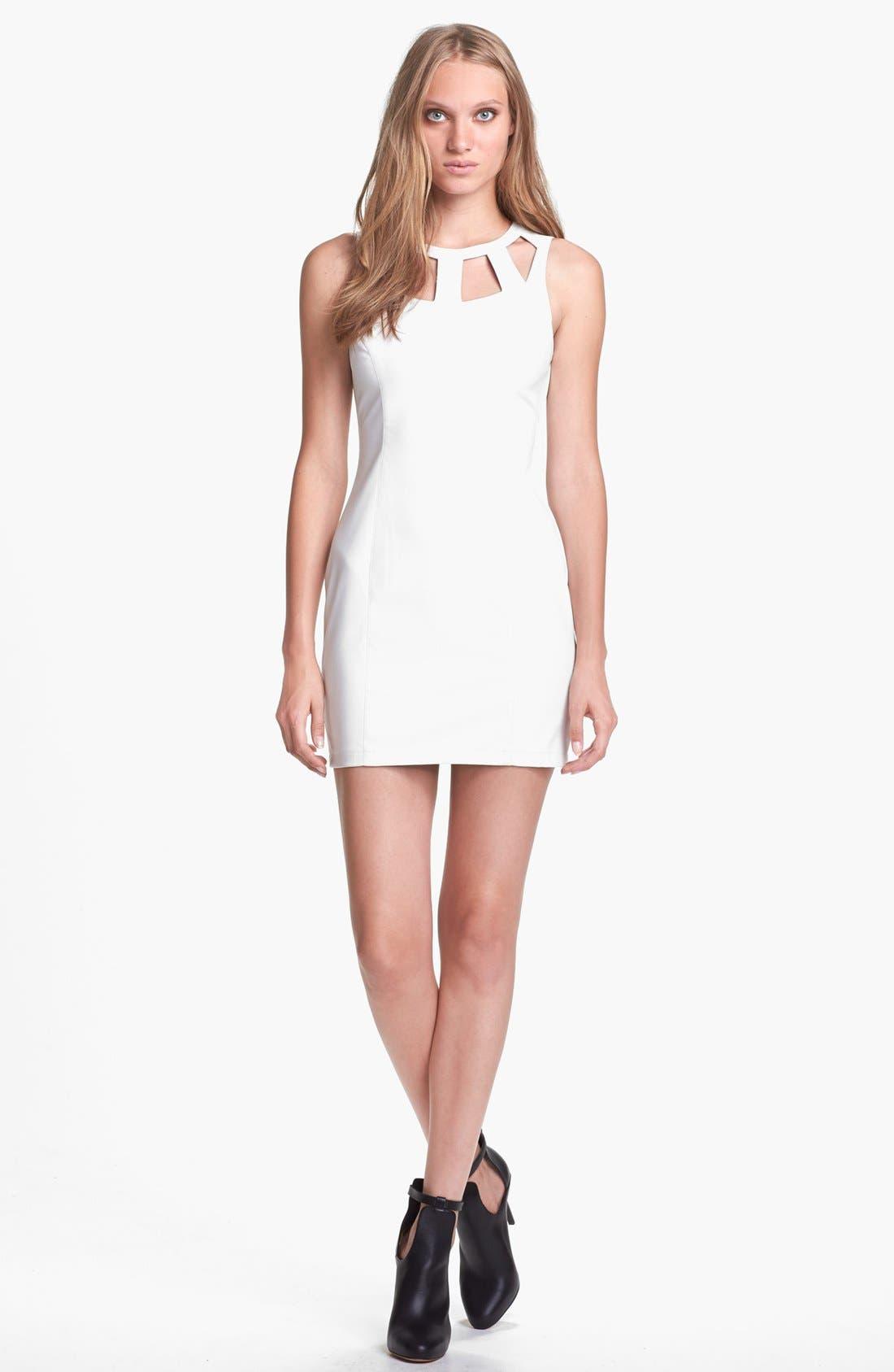 Main Image - ASTR Cutout Faux Leather Dress