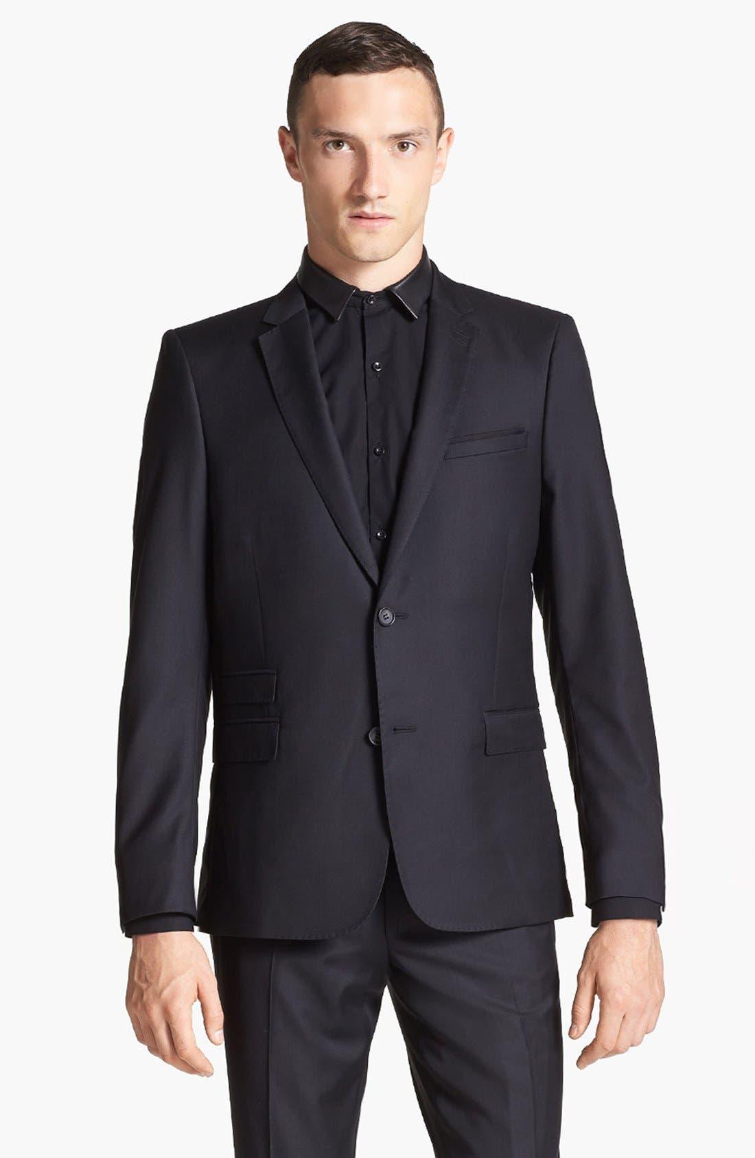 Main Image - The Kooples Adjusted Fit Black Wool Blazer