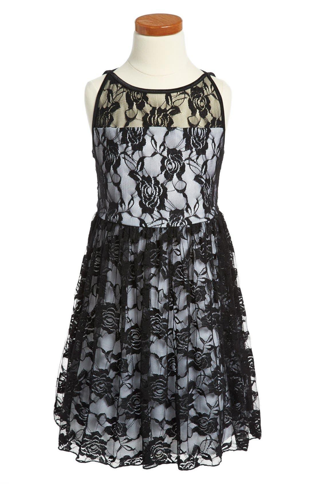 Main Image - Roxette Sleeveless Lace Dress (Big Girls)