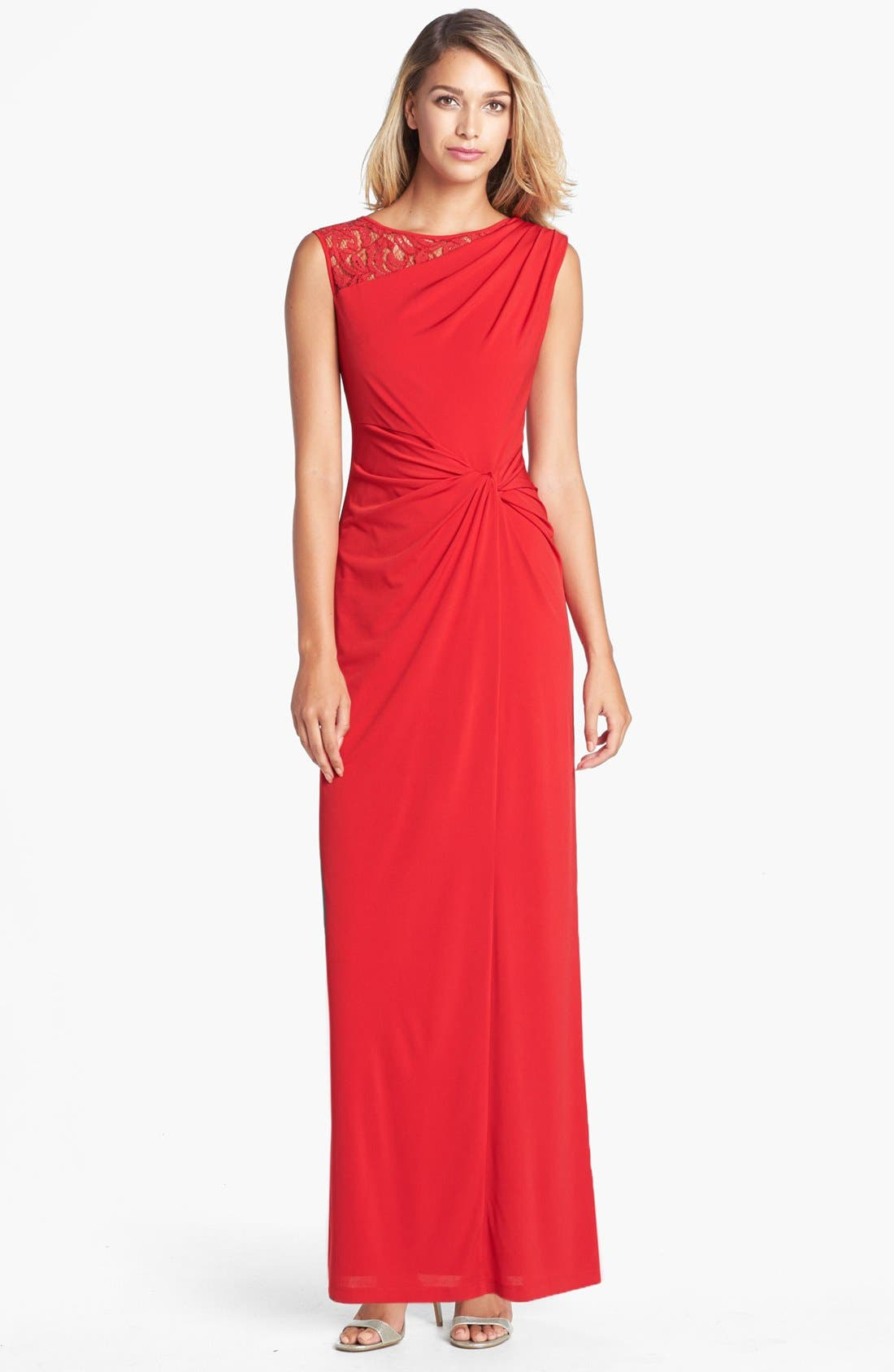 Main Image - Ellen Tracy Lace Yoke Side Knot Jersey Gown