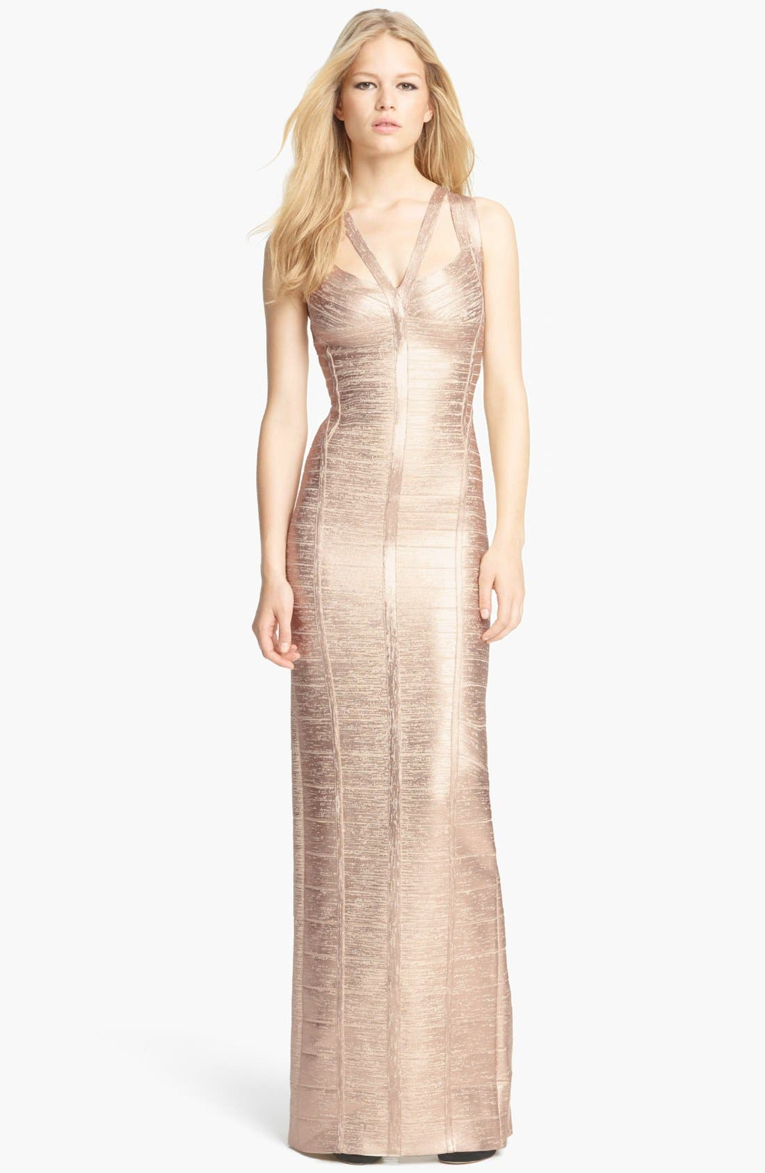 Main Image - Herve Leger V-Neck Metallic Bandage Gown