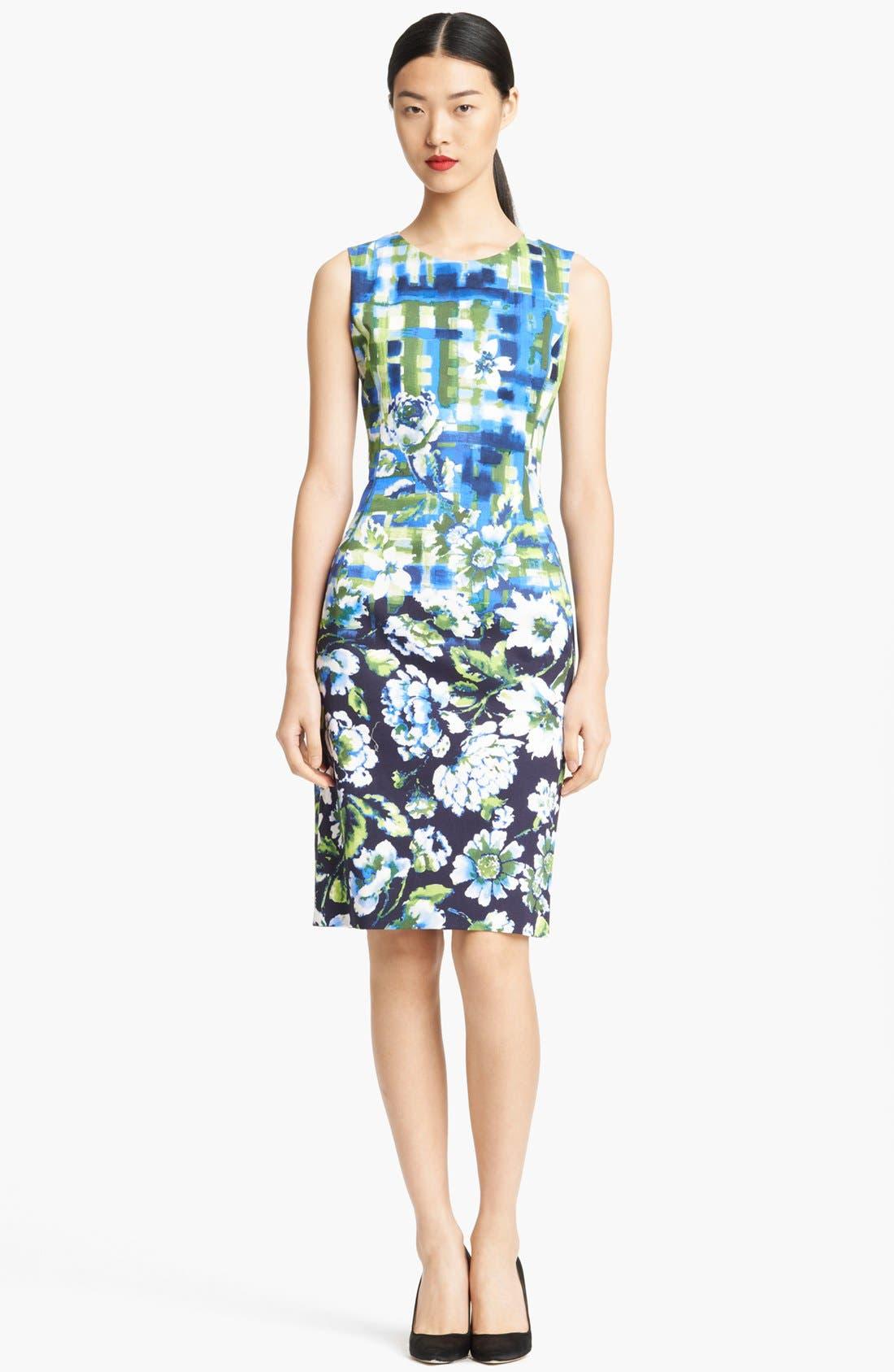 Main Image - Oscar de la Renta Painted Floral Print Sheath Dress