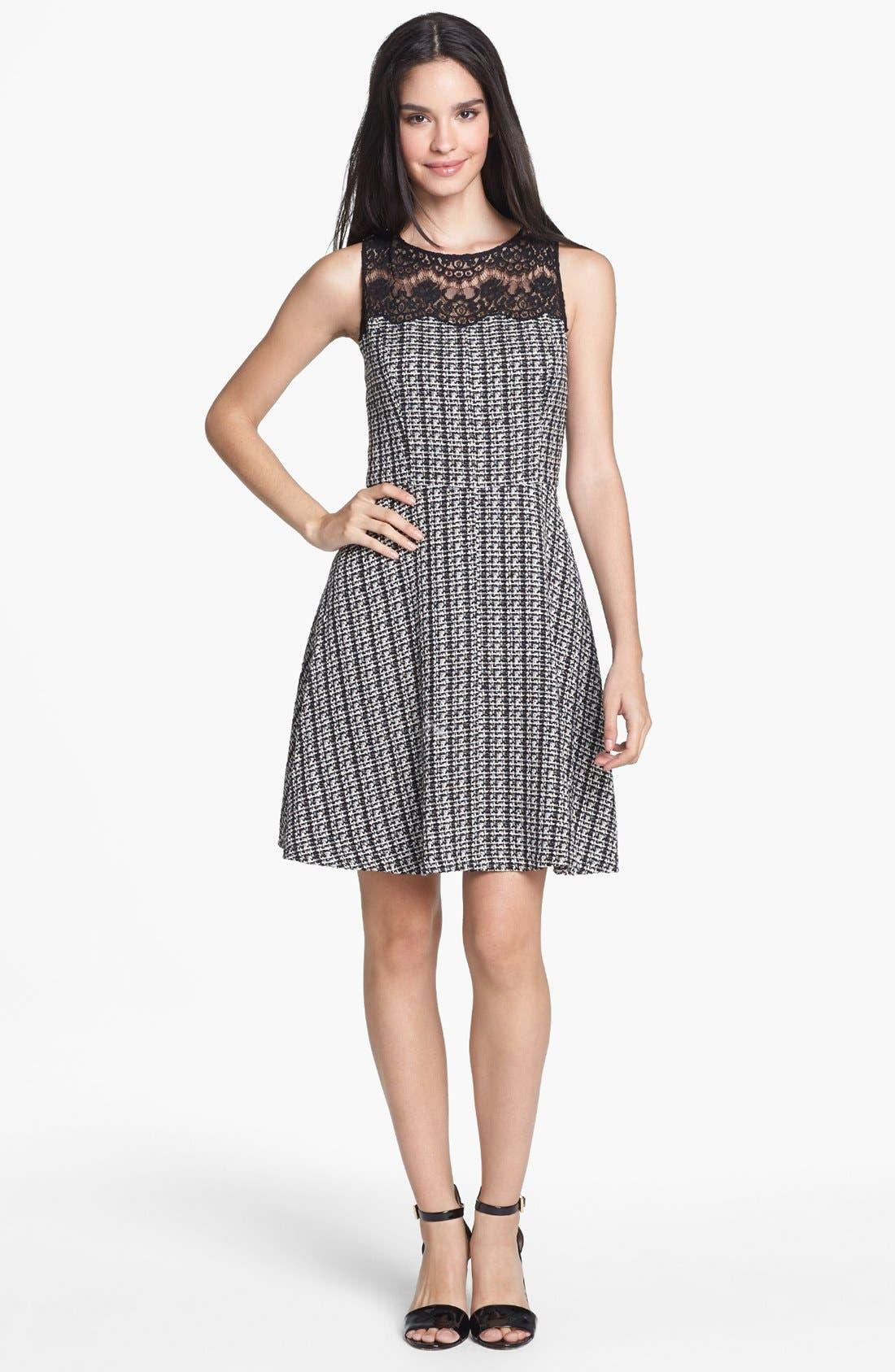 Main Image - Jessica Simpson Lace Yoke Bouclé Fit & Flare Dress