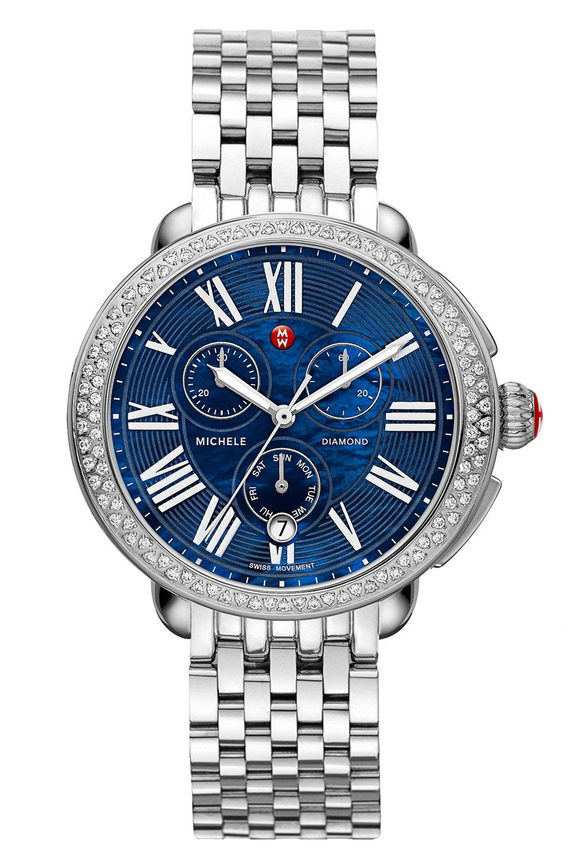 Alternate Image 2  - MICHELE Serein Diamond Blue Dial Watch Case, 40mm x 38mm