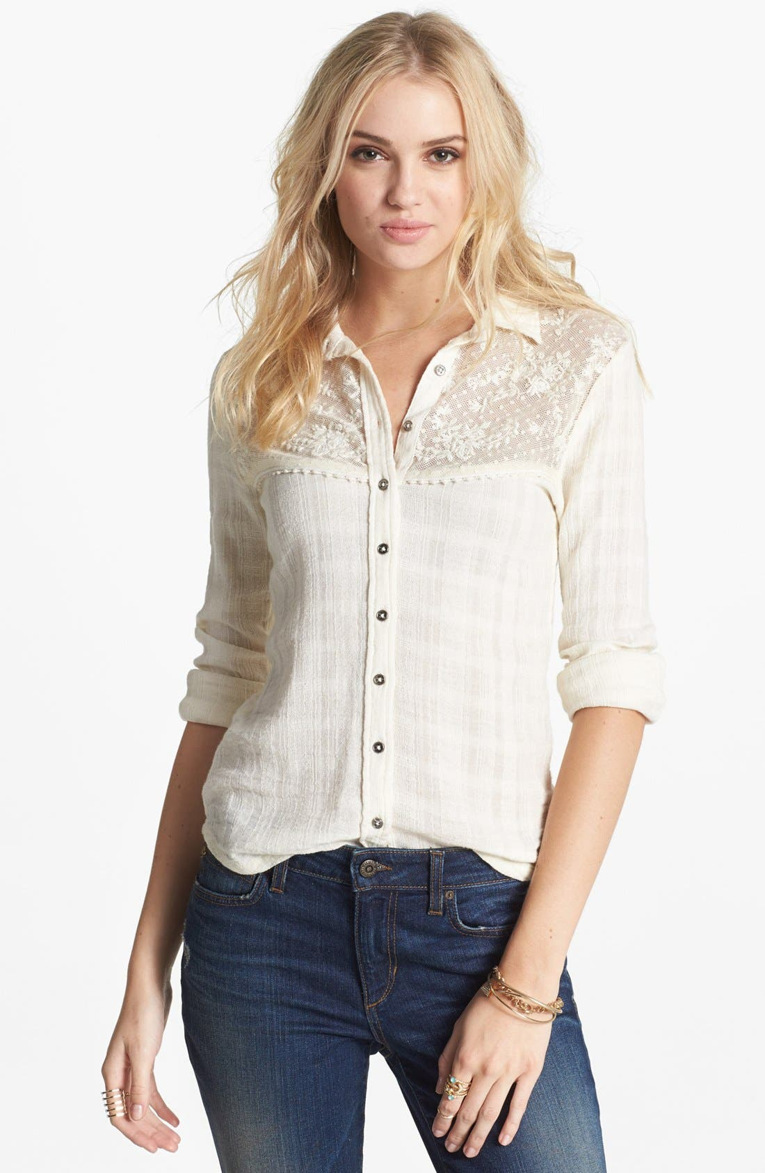 Main Image - Free People 'Saddle Up' Lace Yoke Shirt