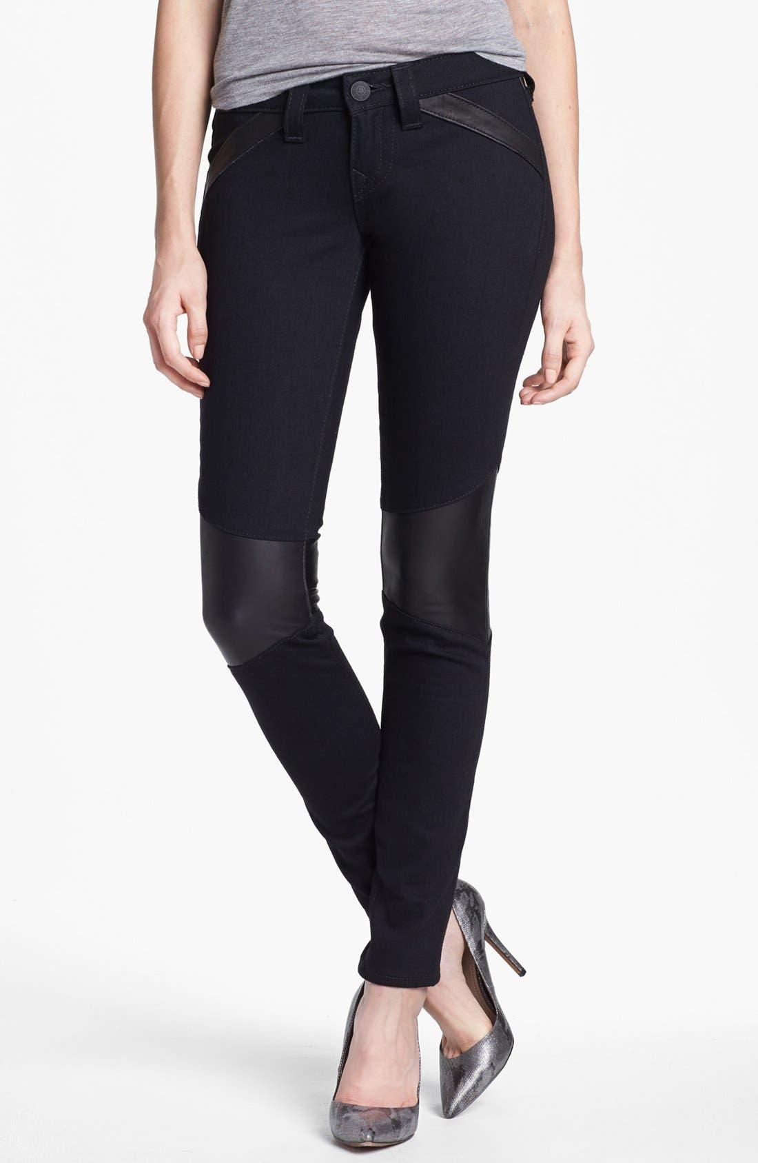 Alternate Image 1 Selected - True Religion Brand Jeans Skinny Moto Jeans (Body Rinse)