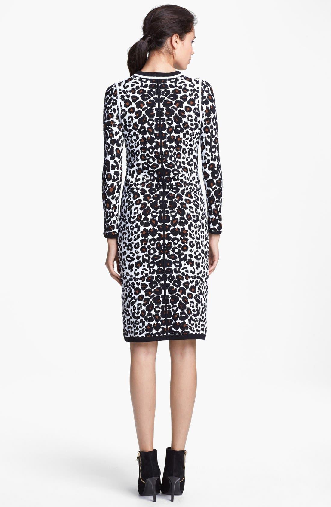 Alternate Image 2  - A.L.C. 'Smith' Long Sleeve Leopard Pattern Knit Dress