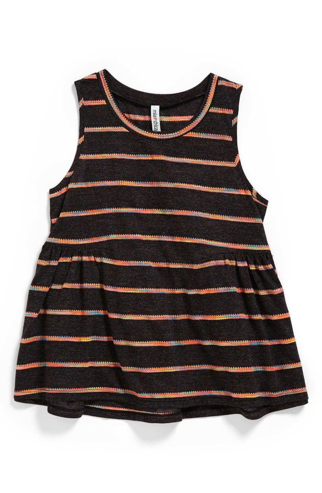 Alternate Image 1 Selected - Mia Chica Space Dye Stripe Top (Little Girls & Big Girls)