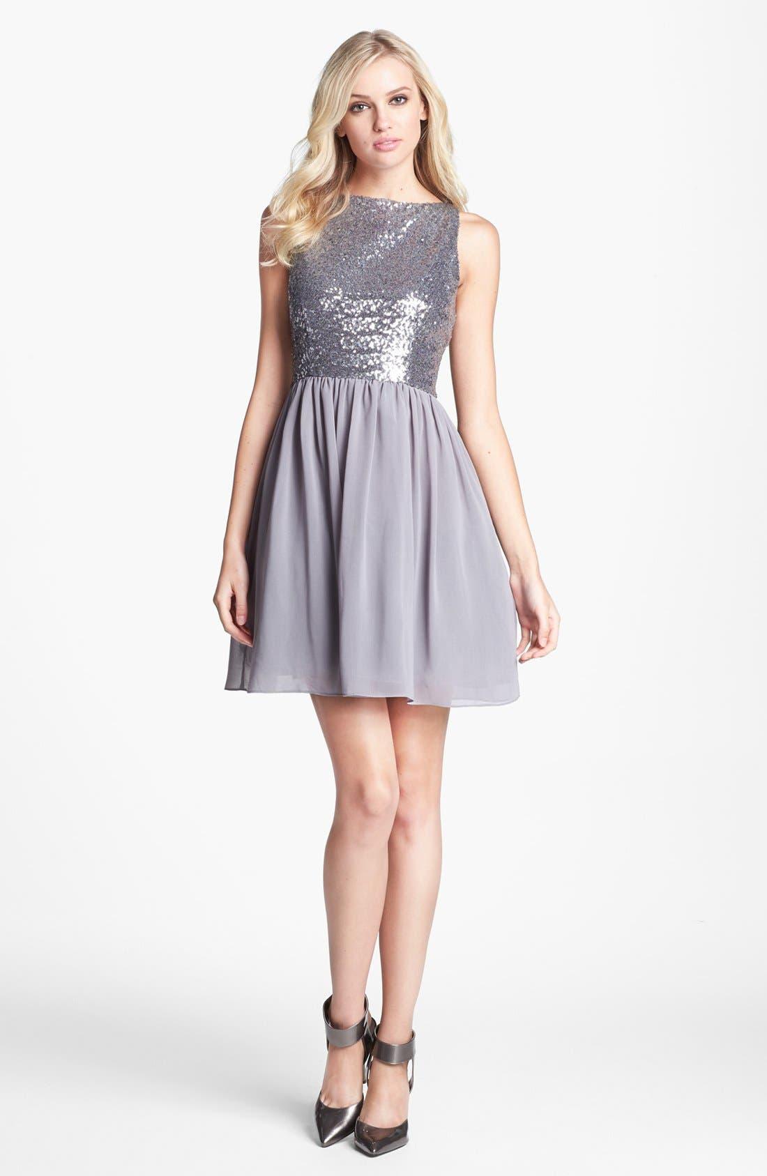Alternate Image 1 Selected - BB Dakota Embellished Fit & Flare Dress