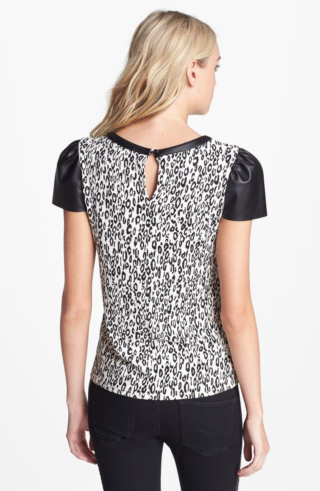 Alternate Image 2  - Ella Moss 'Frankie' Faux Leather Sleeve Top