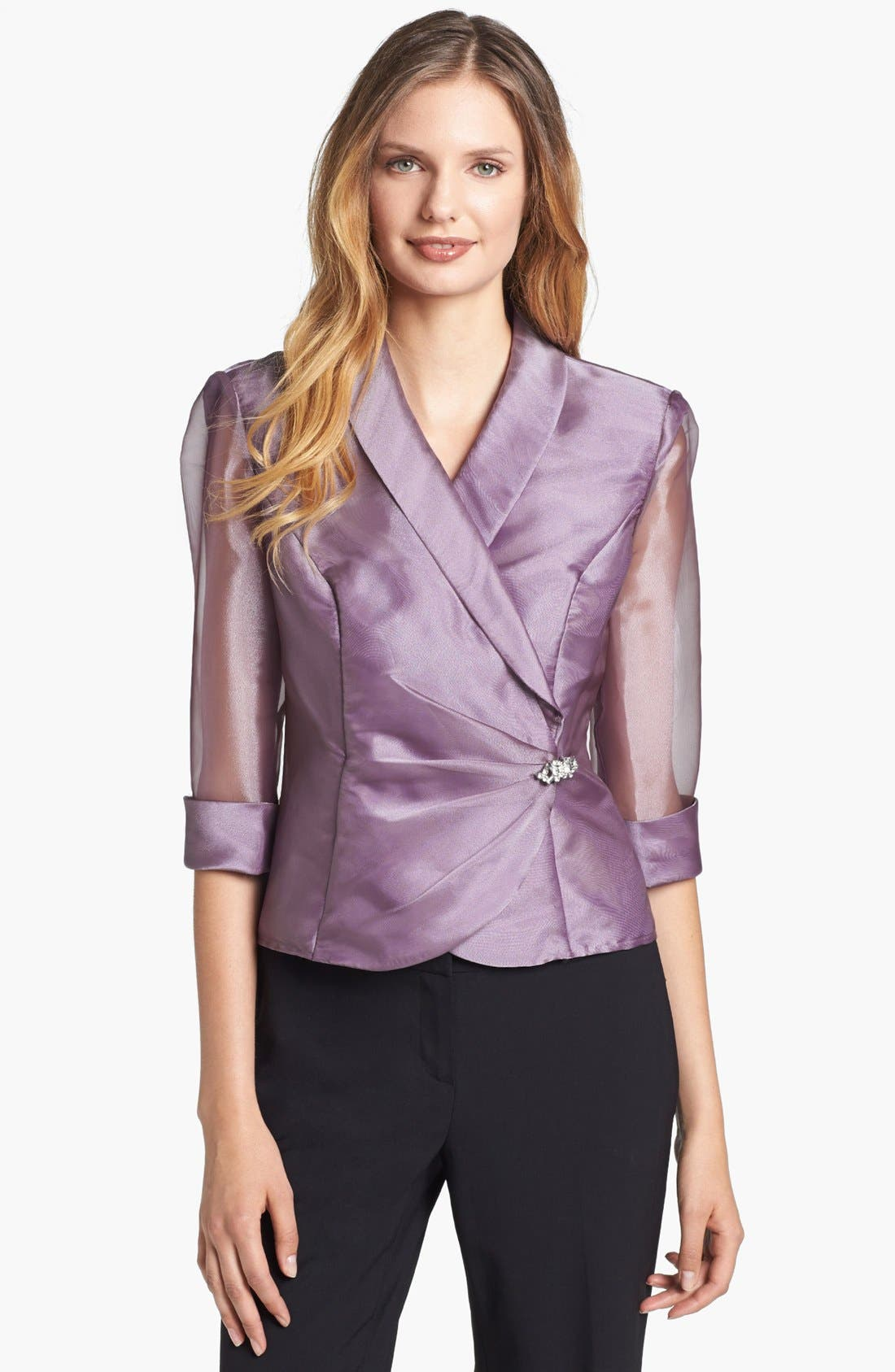 Alternate Image 1 Selected - Alex Evenings Embellished Wrap Blouse (Petite)