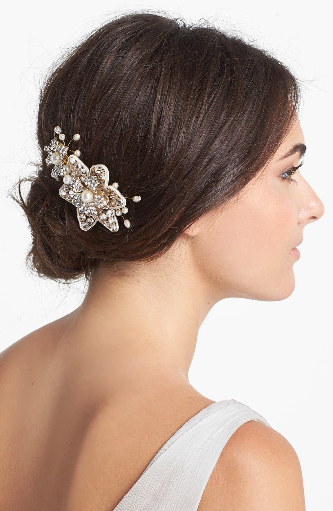 Main Image - Halo & Co 'Ferrara' Crystal Flower Comb