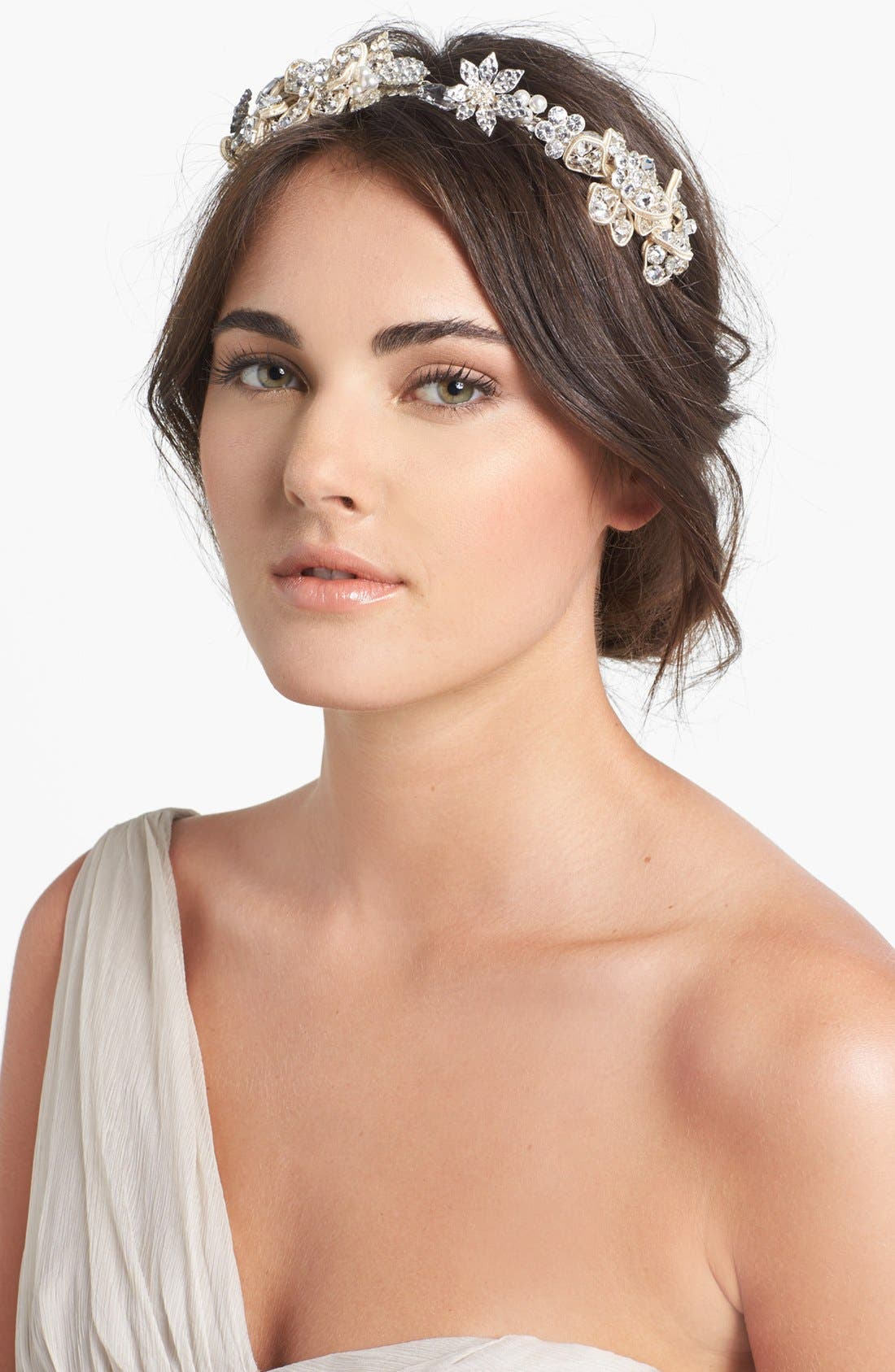 Main Image - Halo & Co 'Cannes' Crystal Flower Headband