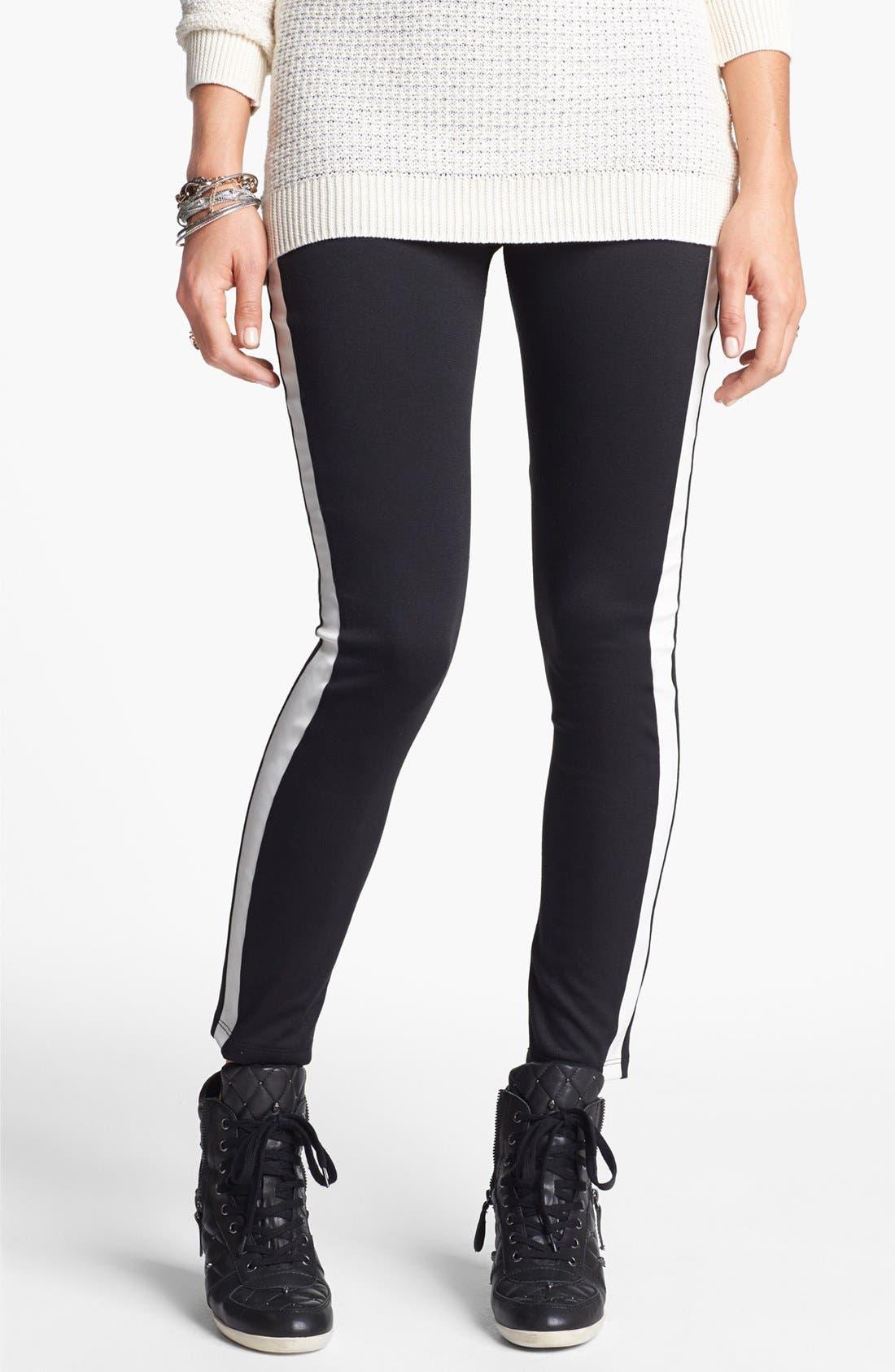 Alternate Image 2  - Lily White Tuxedo Stripe Leggings (Juniors) (Online Only)