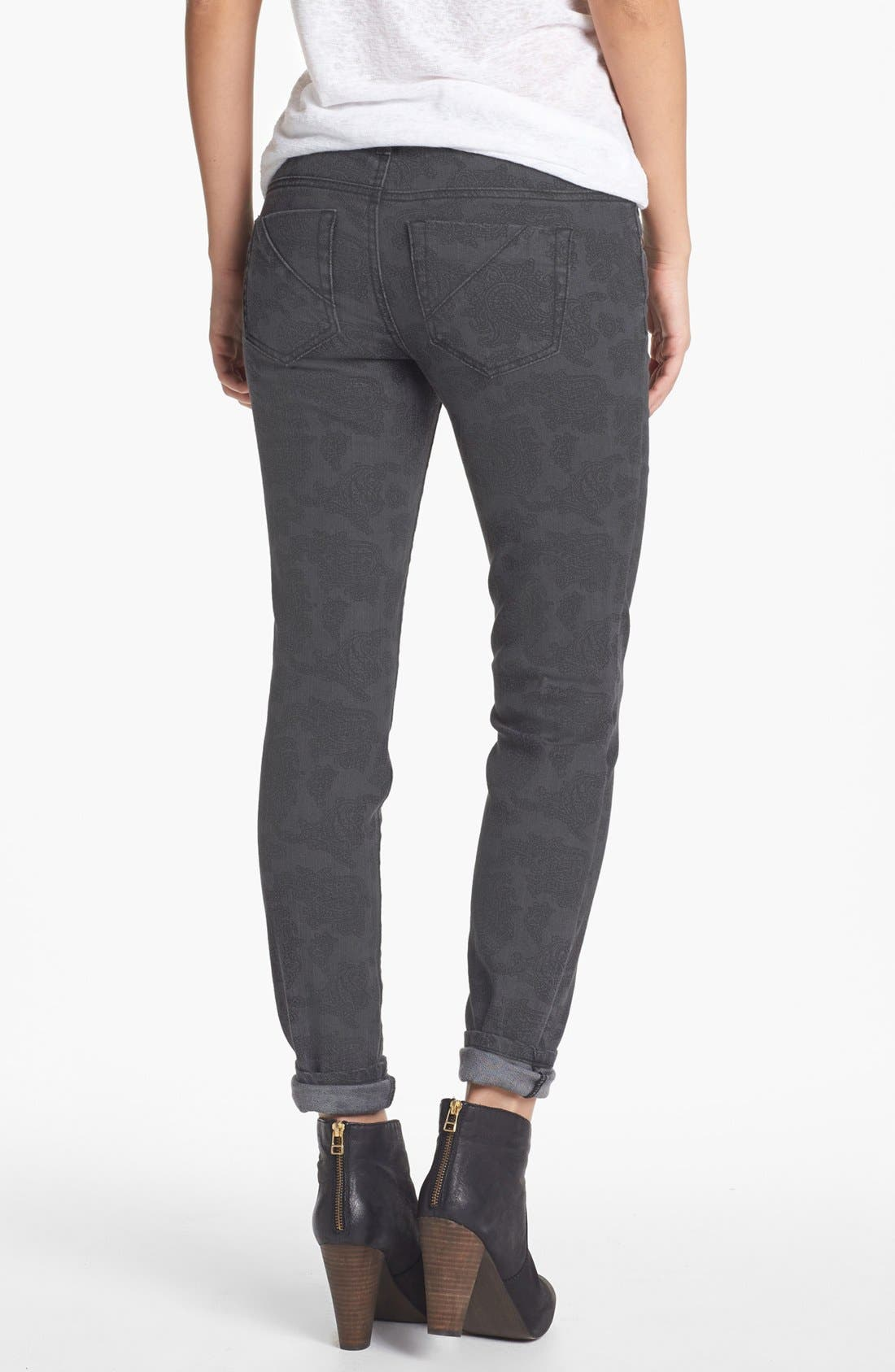 Alternate Image 2  - Fire Paisley Print Skinny Jeans (Charcoal) (Juniors)