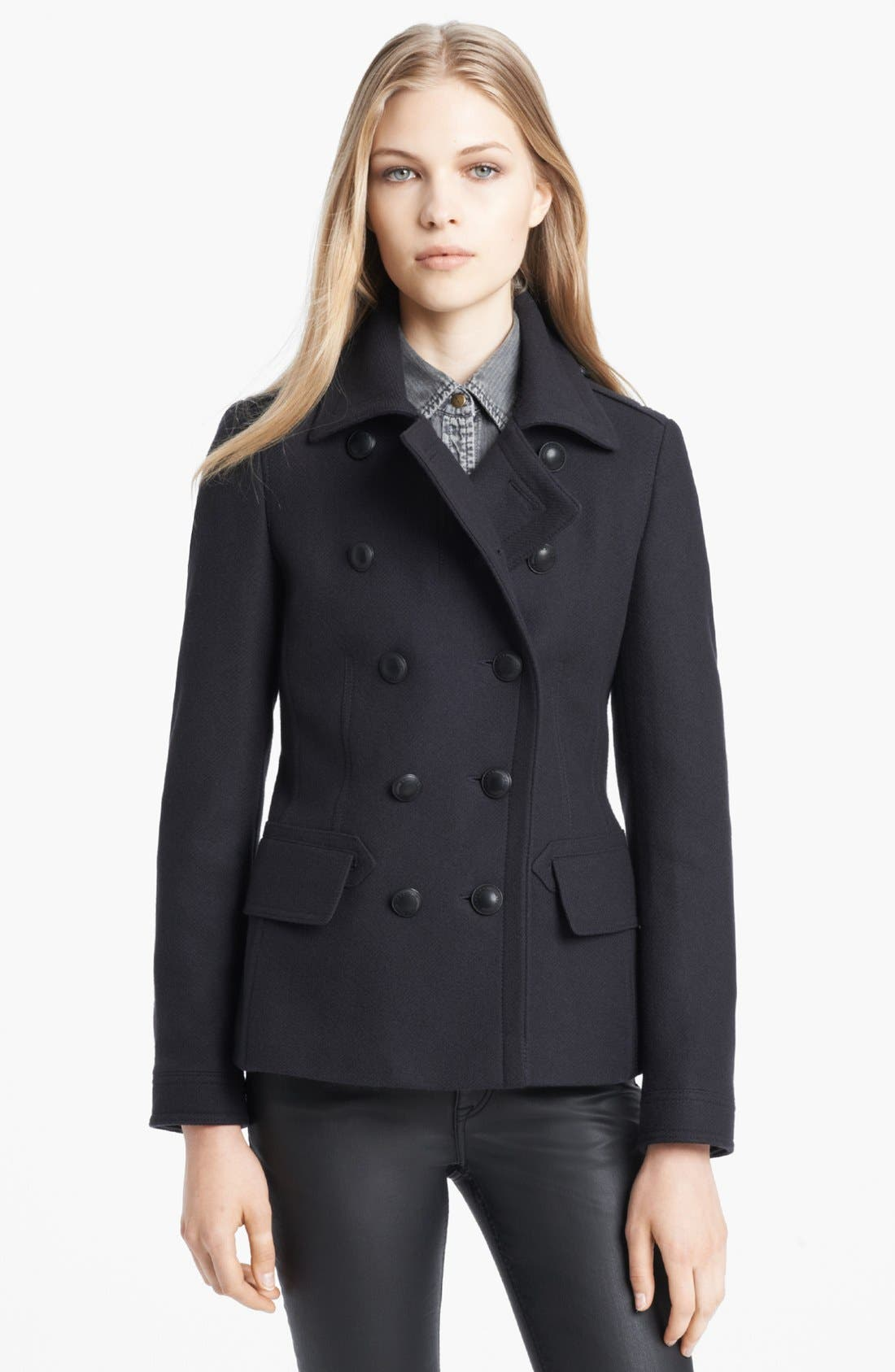 Main Image - Burberry Brit Double Breasted Peacoat
