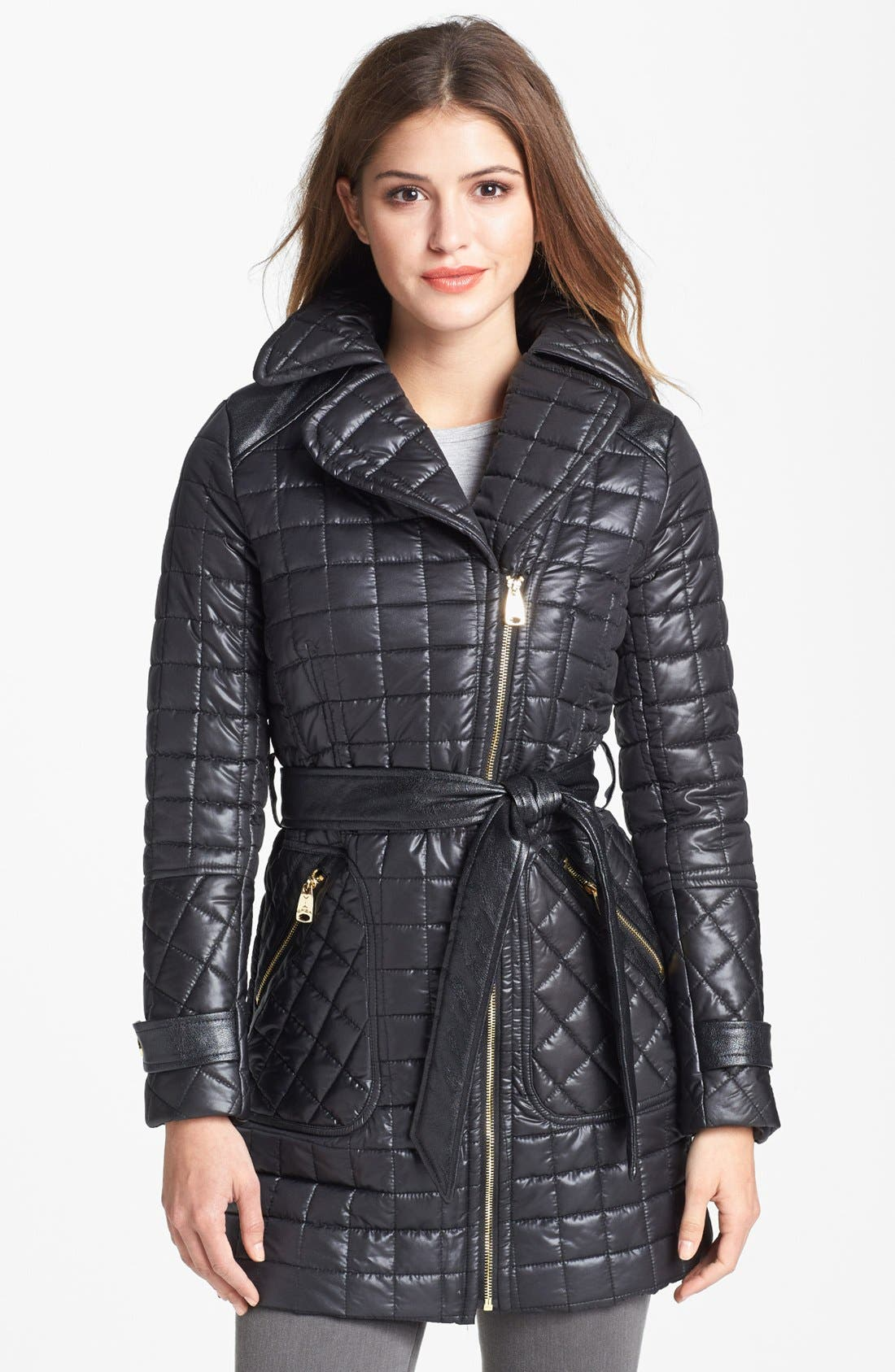 Main Image - Via Spiga Asymmetrical Belted Quilted Coat (Online Only)