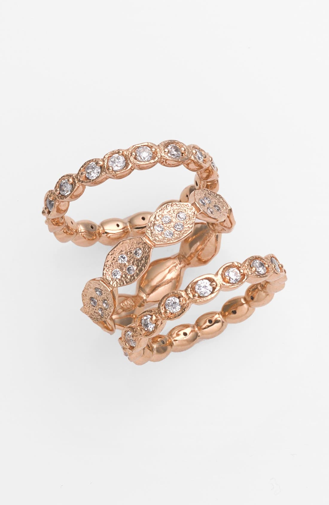 Main Image - Melinda Maria 'Campbell' Pod Stackable Rings (Set of 3)