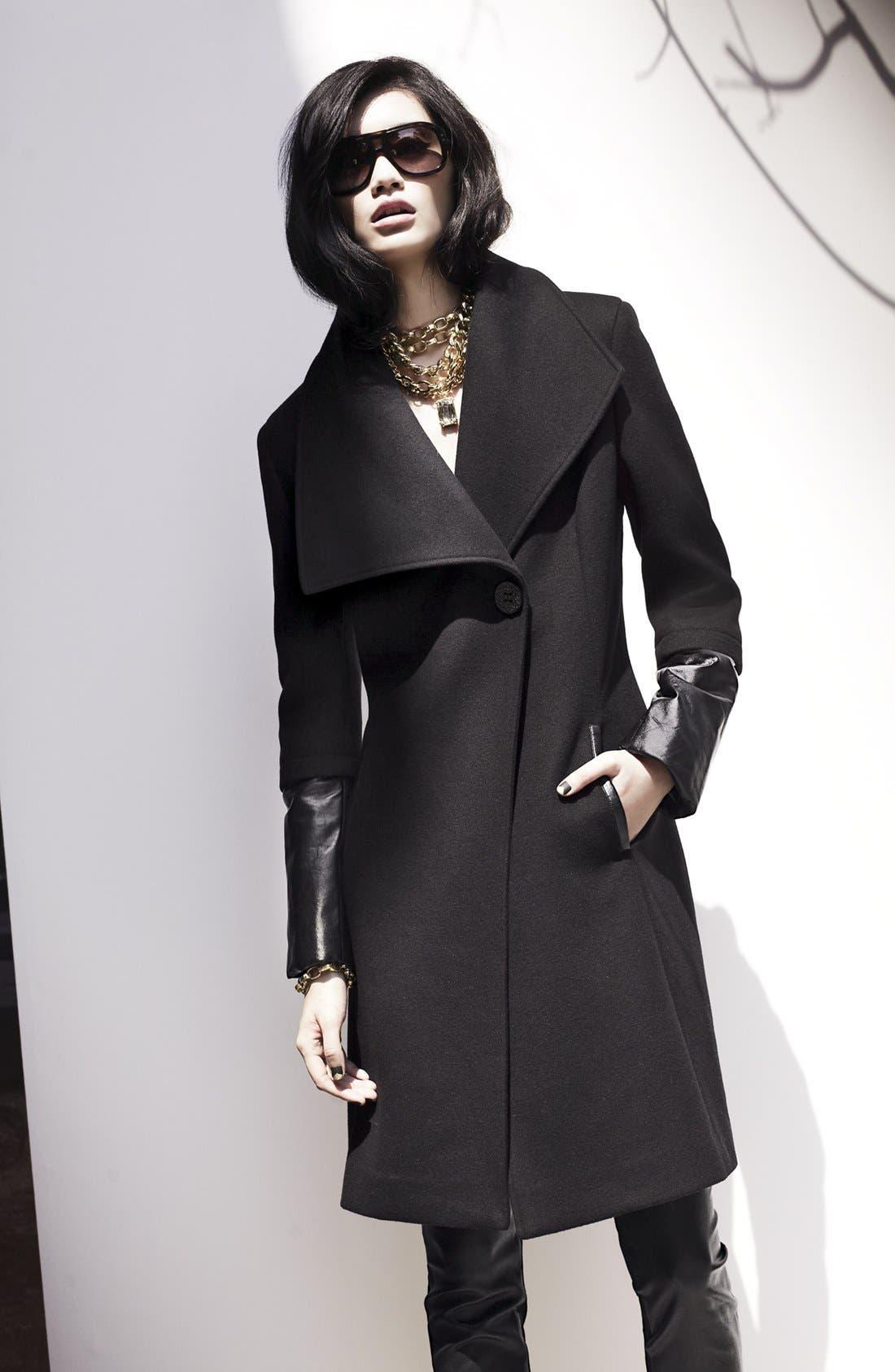 Alternate Image 4  - Elie Tahari 'Carlotta' Leather Trim Wool Blend Coat