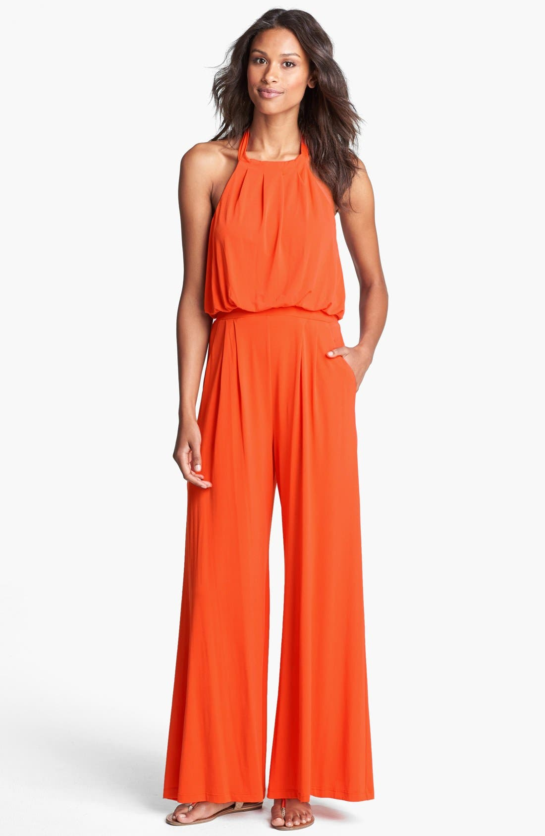 Main Image - Vince Camuto Jersey Halter Jumpsuit