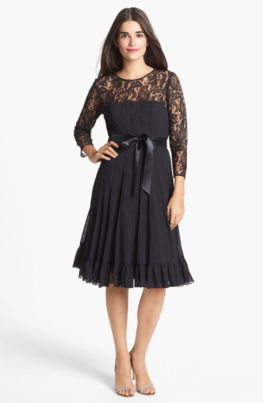 Main Image - Adrianna Papell Lace Yoke Chiffon Fit & Flare Dress