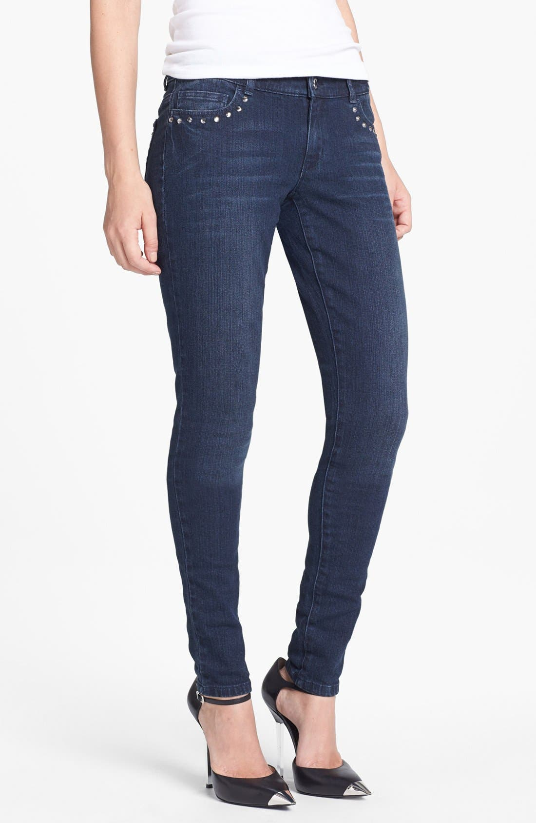 Alternate Image 1 Selected - MICHAEL Michael Kors Embellished Skinny Jeans (Stellar)