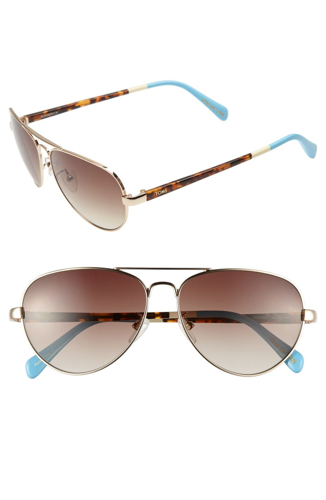 Alternate Image 1 Selected - TOMS 'Maverick' 59mm Aviator Sunglasses