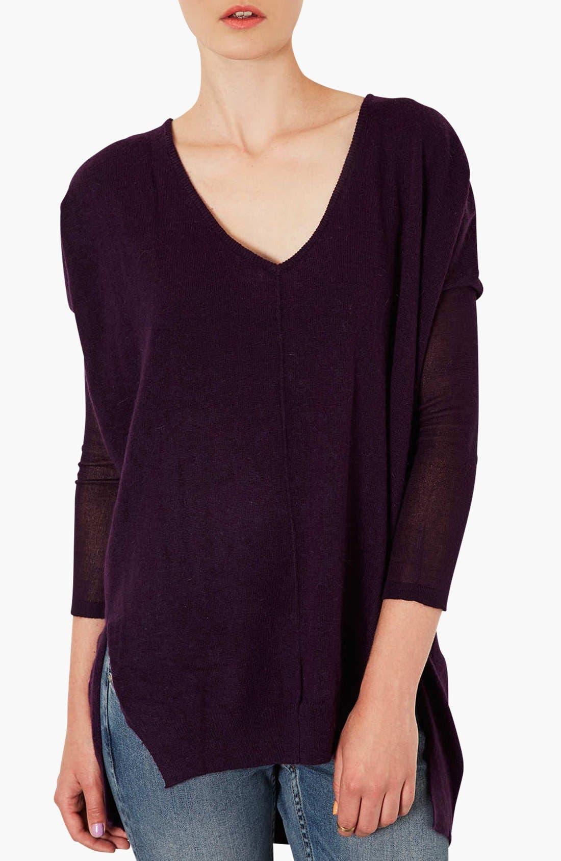 Alternate Image 1 Selected - Topshop Lightweight V-Neck Sweater