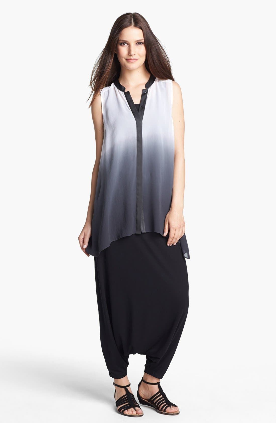 Alternate Image 1 Selected - Eileen Fisher Ombré Silk Georgette Blouse (Petite)