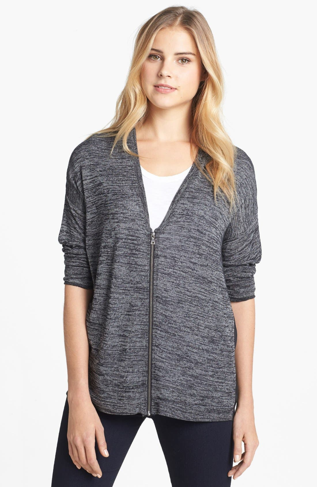Main Image - Two by Vince Camuto V-Neck Zip Front Mixed Media Cardigan