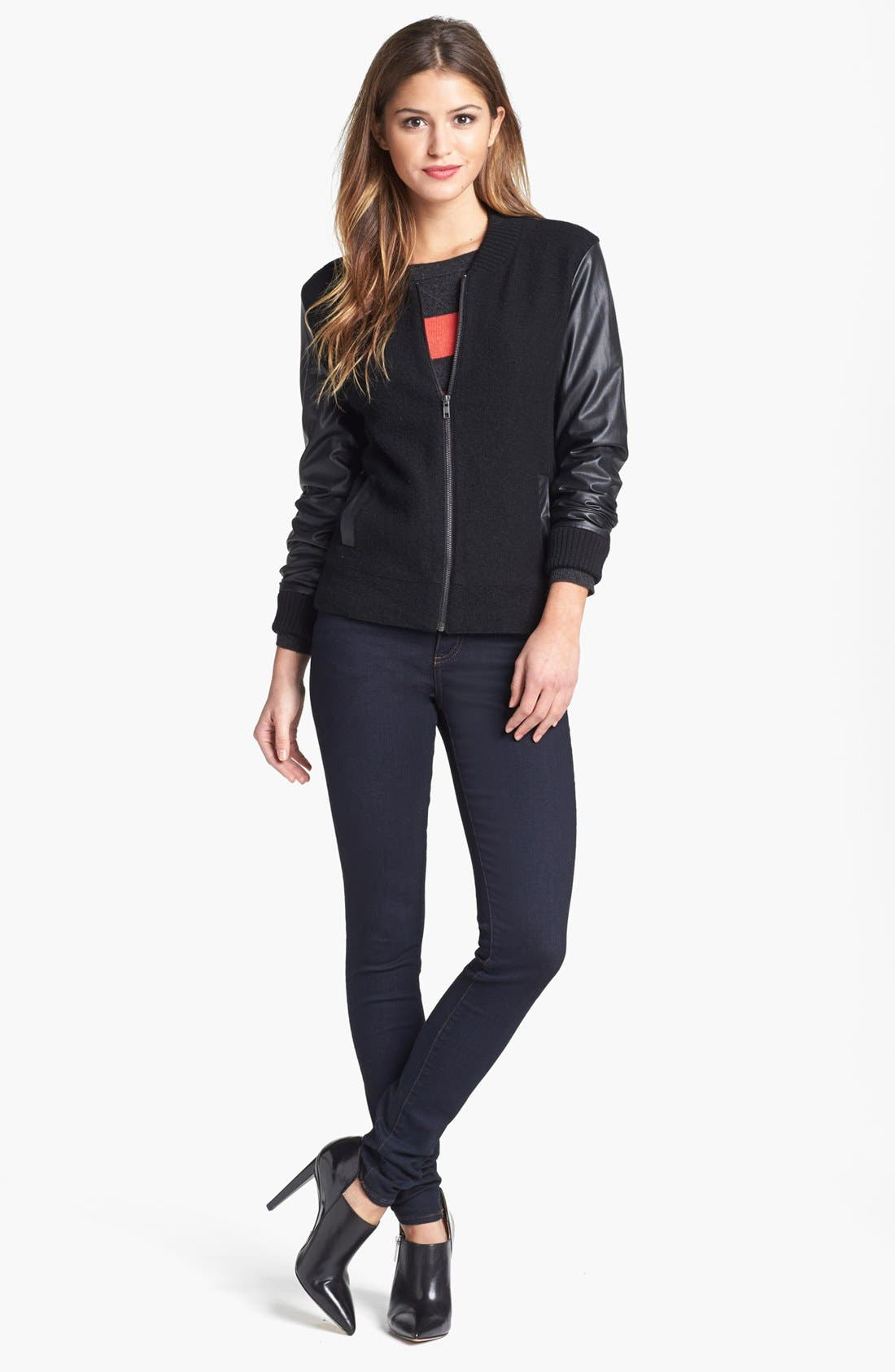 Alternate Image 1 Selected - Halogen® Wool & Faux Leather Jacket (Regular & Petite)