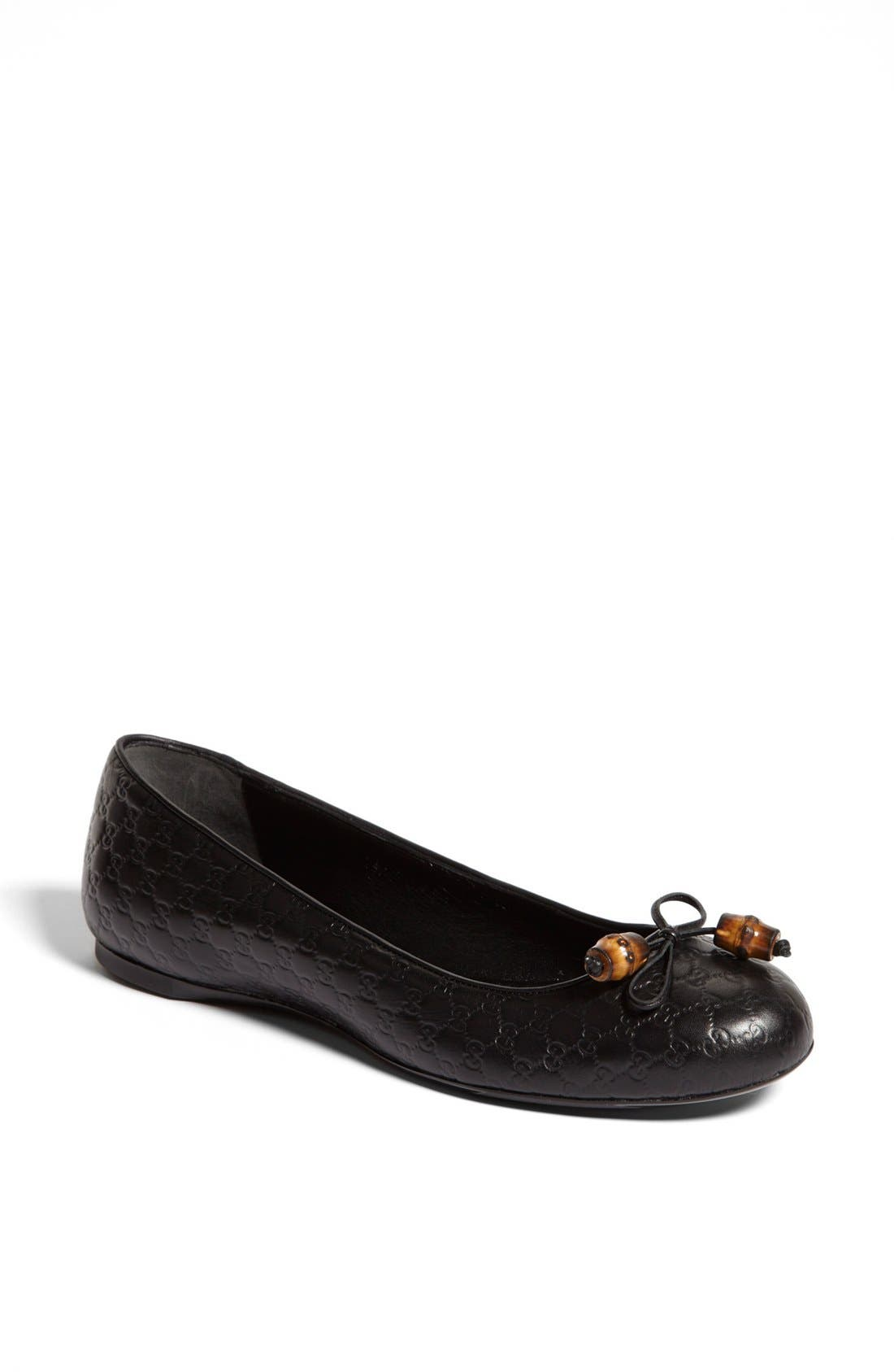 Alternate Image 1 Selected - Gucci 'Sylvie' Bamboo Bow Ballet Flat