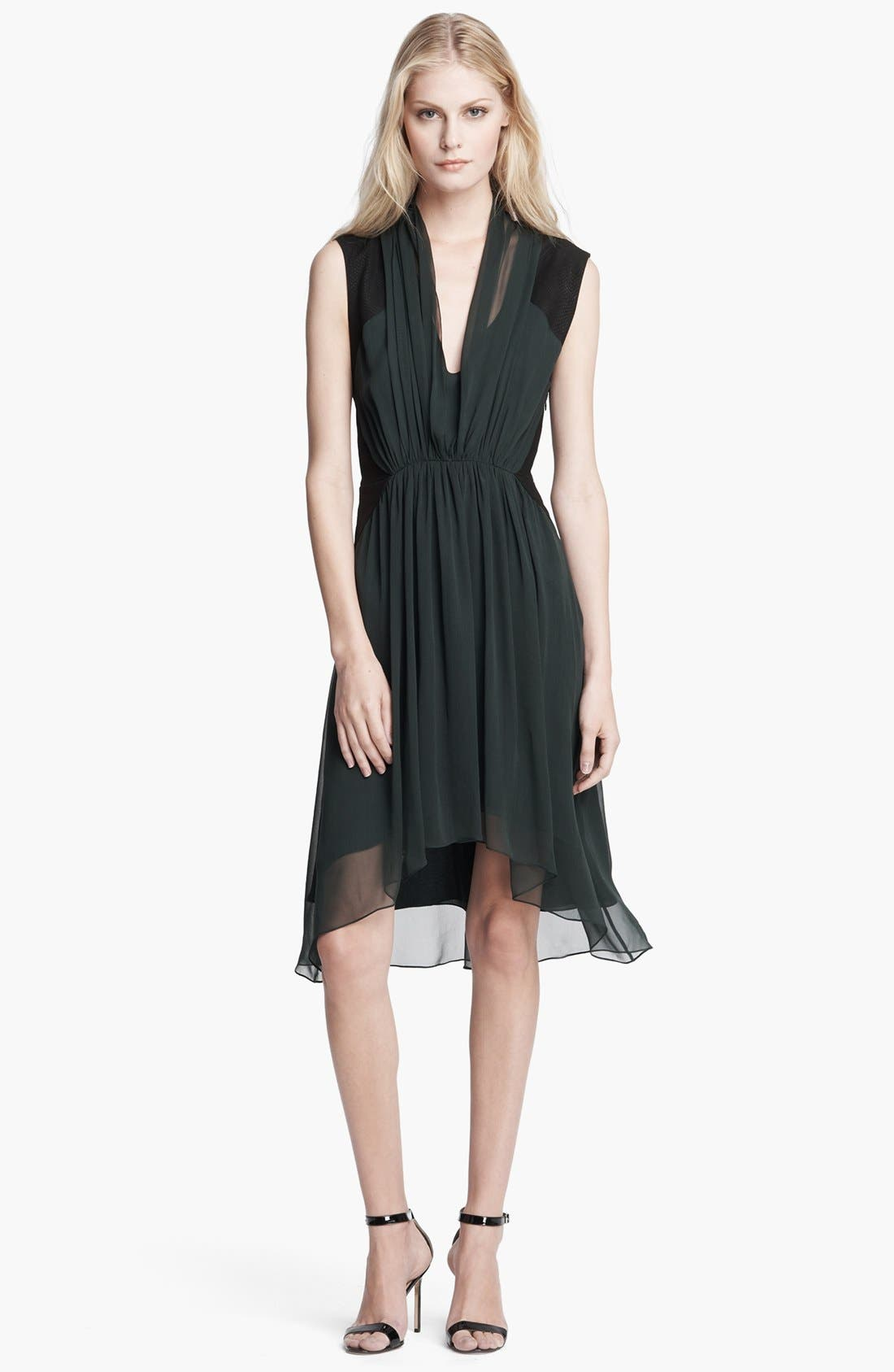 Main Image - Haute Hippie Drape Front Leather & Chiffon Dress