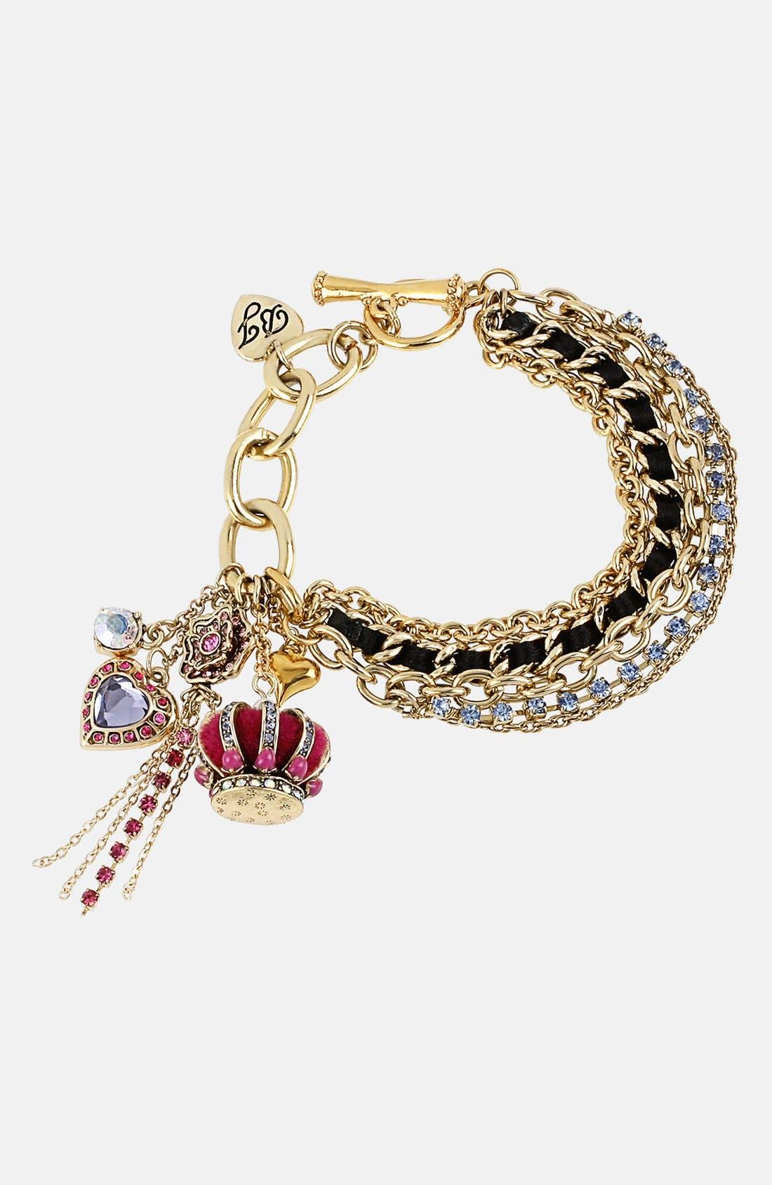 Main Image - Betsey Johnson 'Imperial' Toggle Charm Bracelet