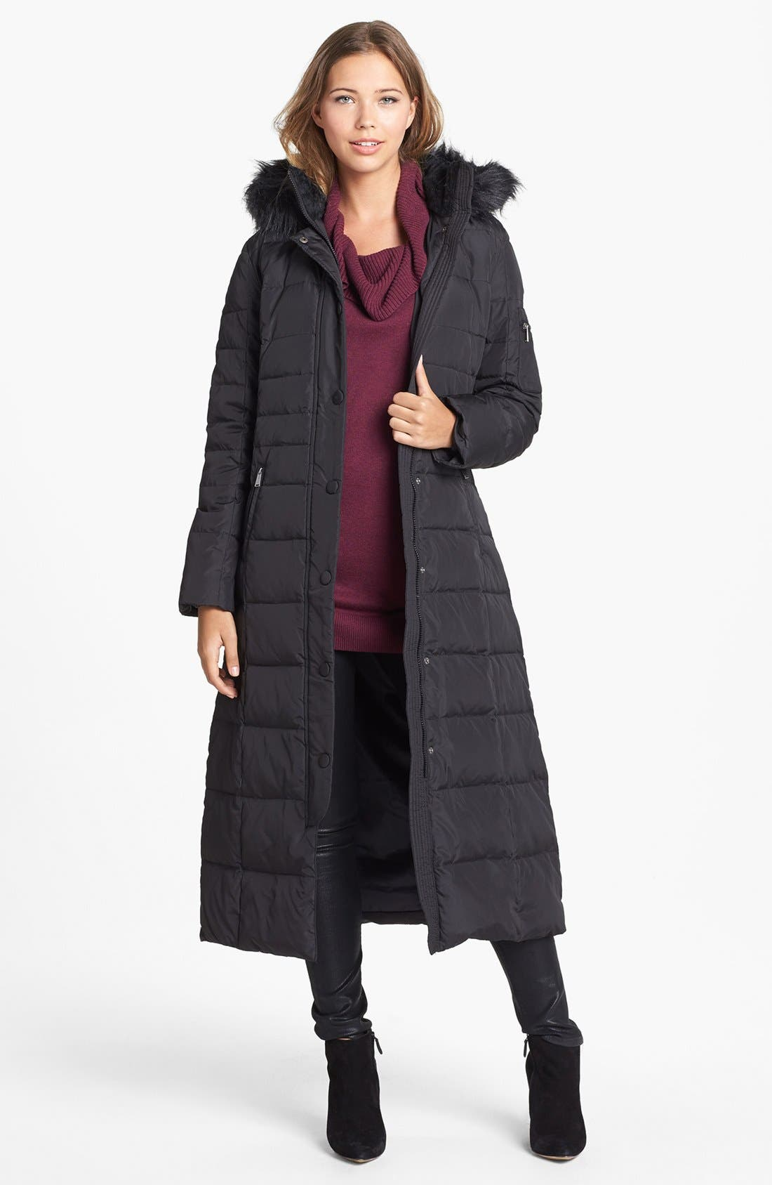 Main Image - DKNY Faux Fur Trim Fitted Down & Feather Coat