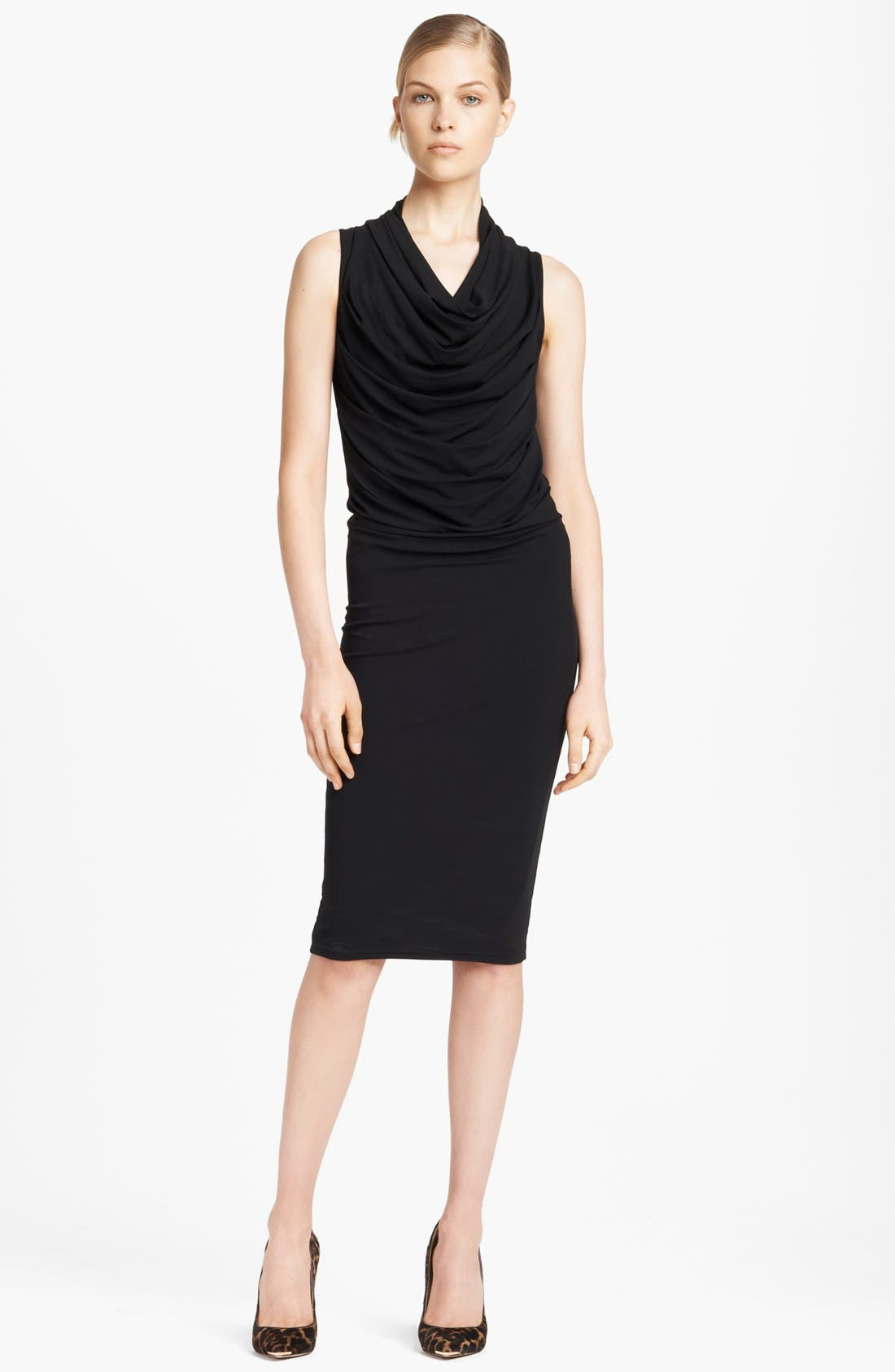 Main Image - Michael Kors Cowl Neck Ruched Jersey Dress