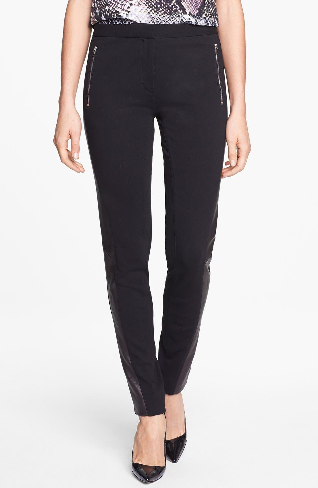 Alternate Image 1 Selected - Diane von Furstenberg 'Leah' Leather & Pont Pants